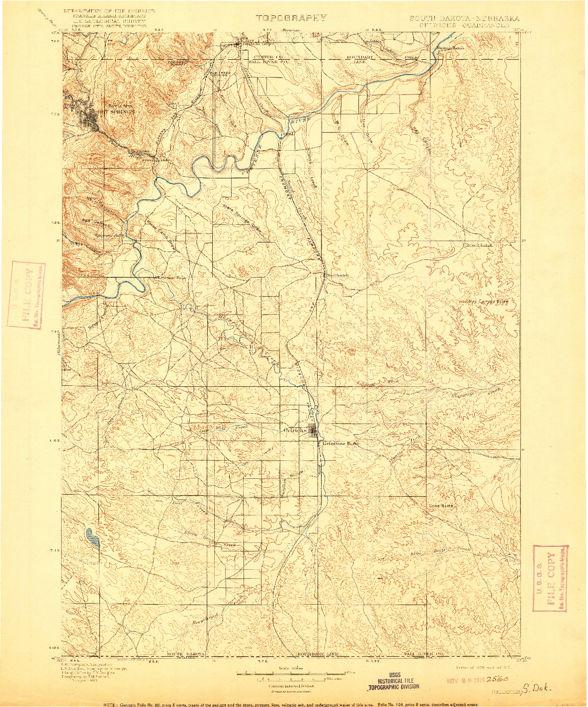 USGS 1:125000-SCALE QUADRANGLE FOR OELRICHS, SD 1900