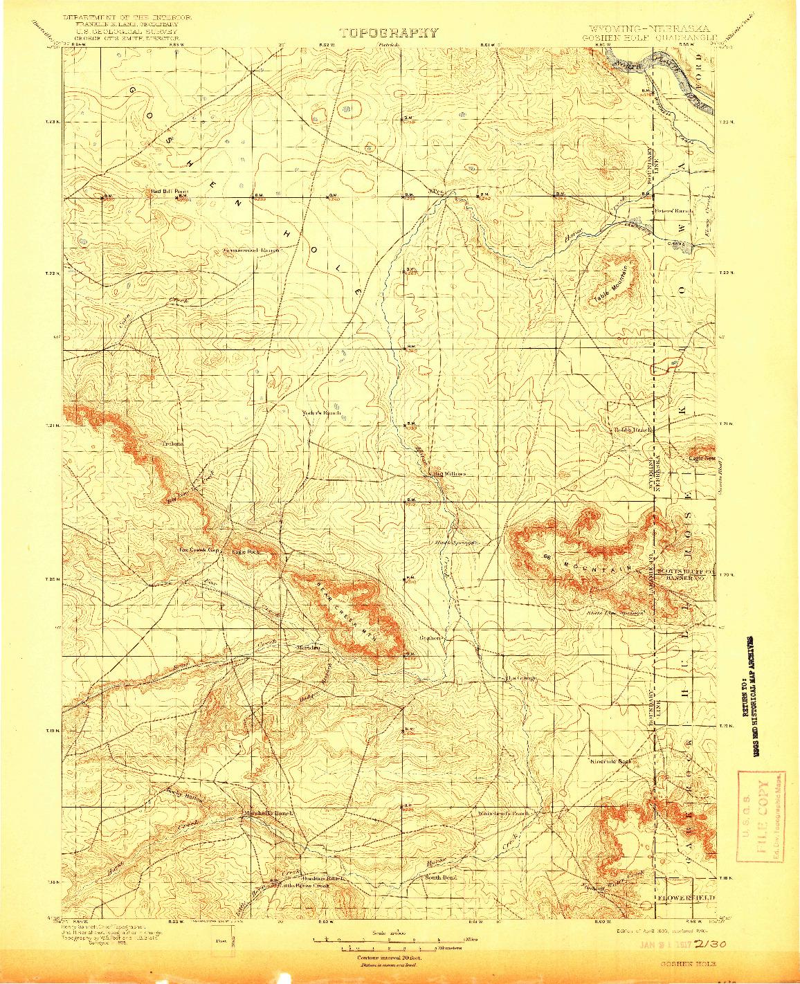 USGS 1:125000-SCALE QUADRANGLE FOR GOSHEN HOLE, WY 1899