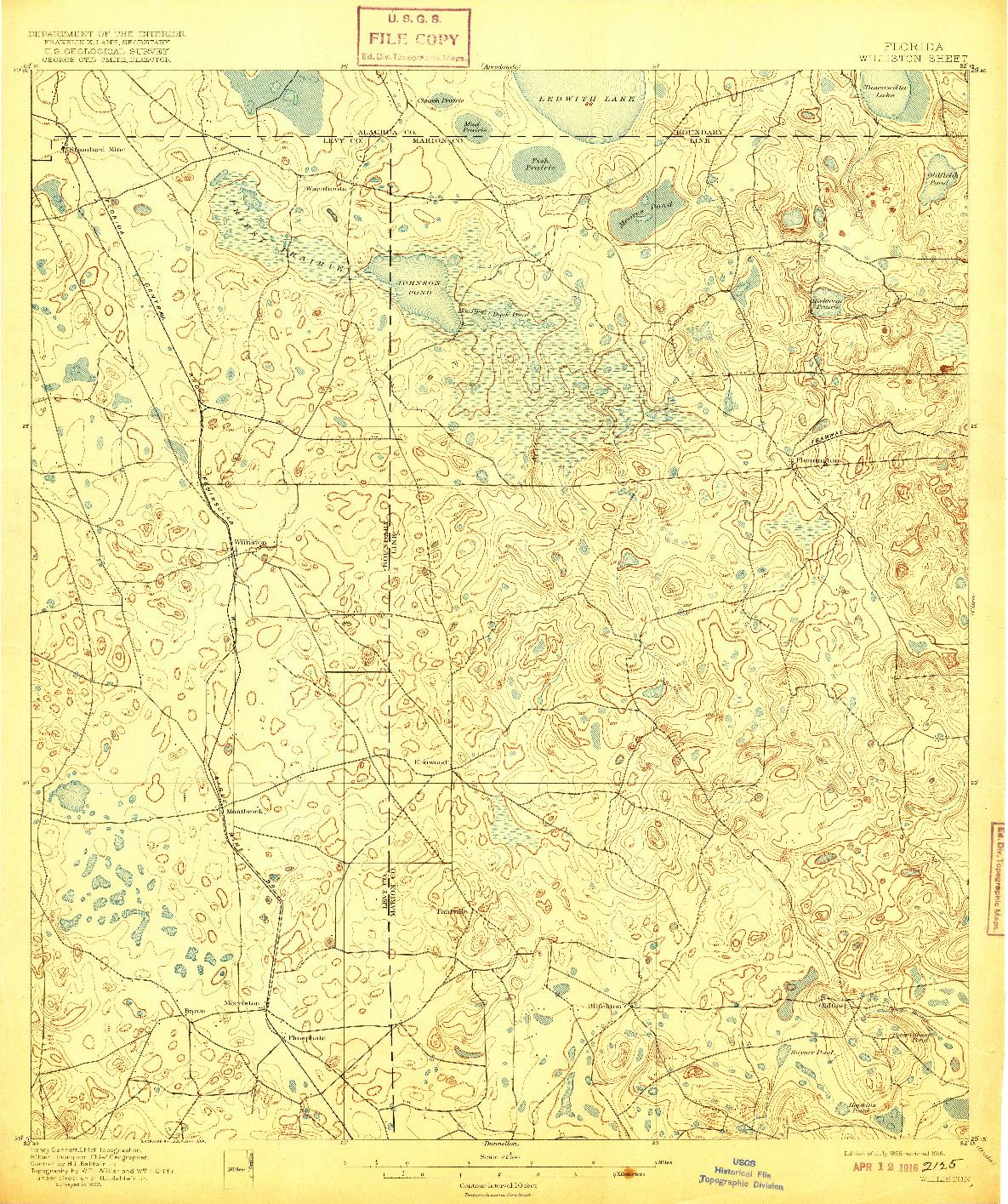 USGS 1:62500-SCALE QUADRANGLE FOR WILLISTON, FL 1895