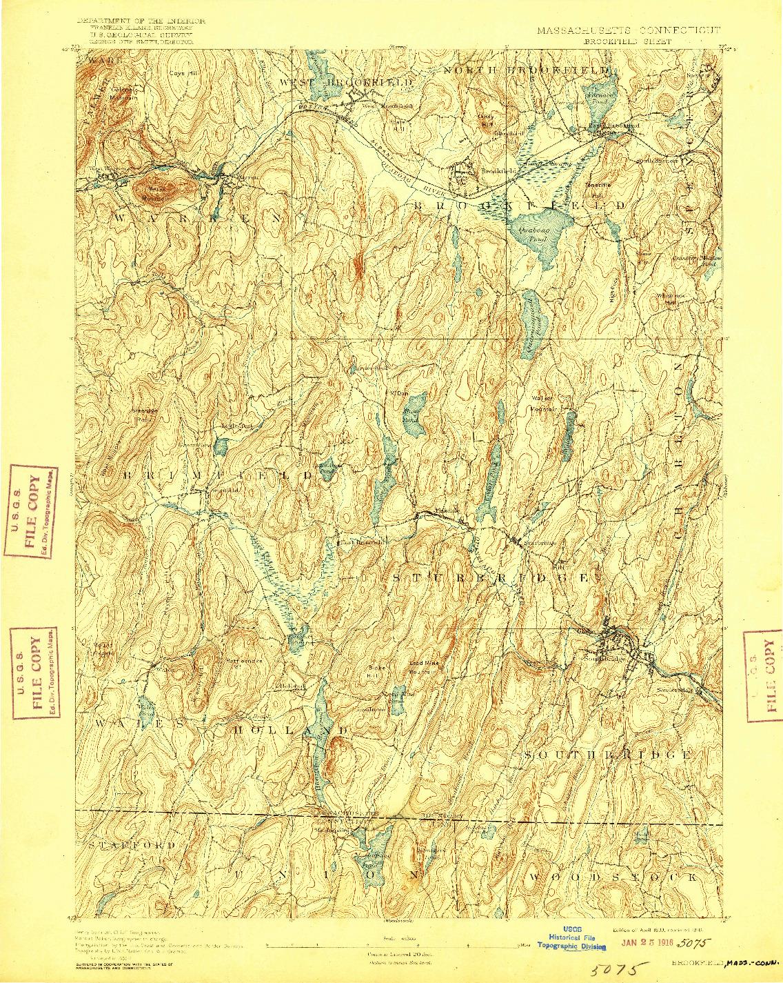 USGS 1:62500-SCALE QUADRANGLE FOR BROOKFIELD, MA 1893
