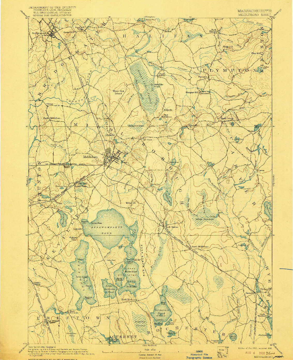USGS 1:62500-SCALE QUADRANGLE FOR MIDDLEBORO, MA 1893