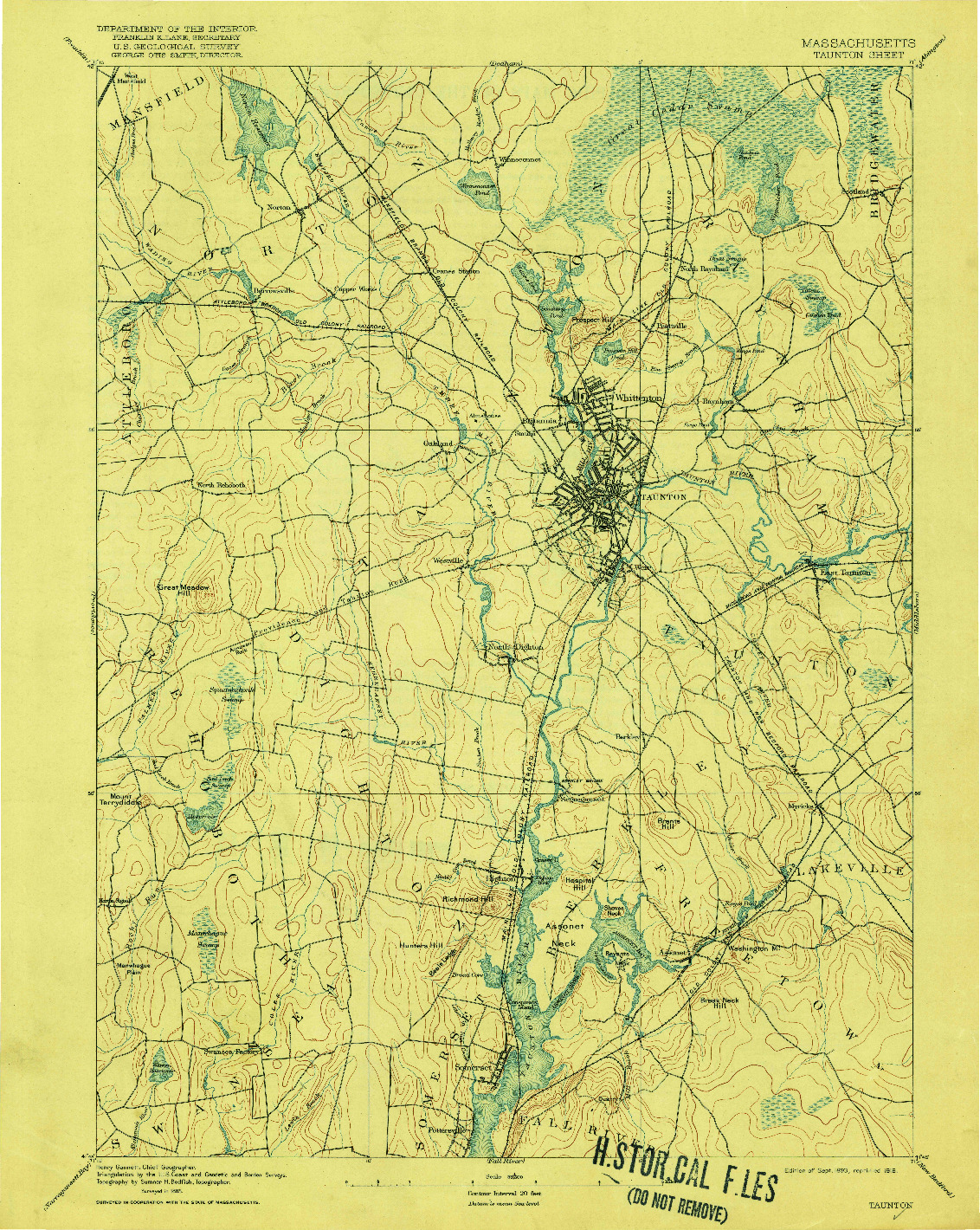 USGS 1:62500-SCALE QUADRANGLE FOR TAUNTON, MA 1893
