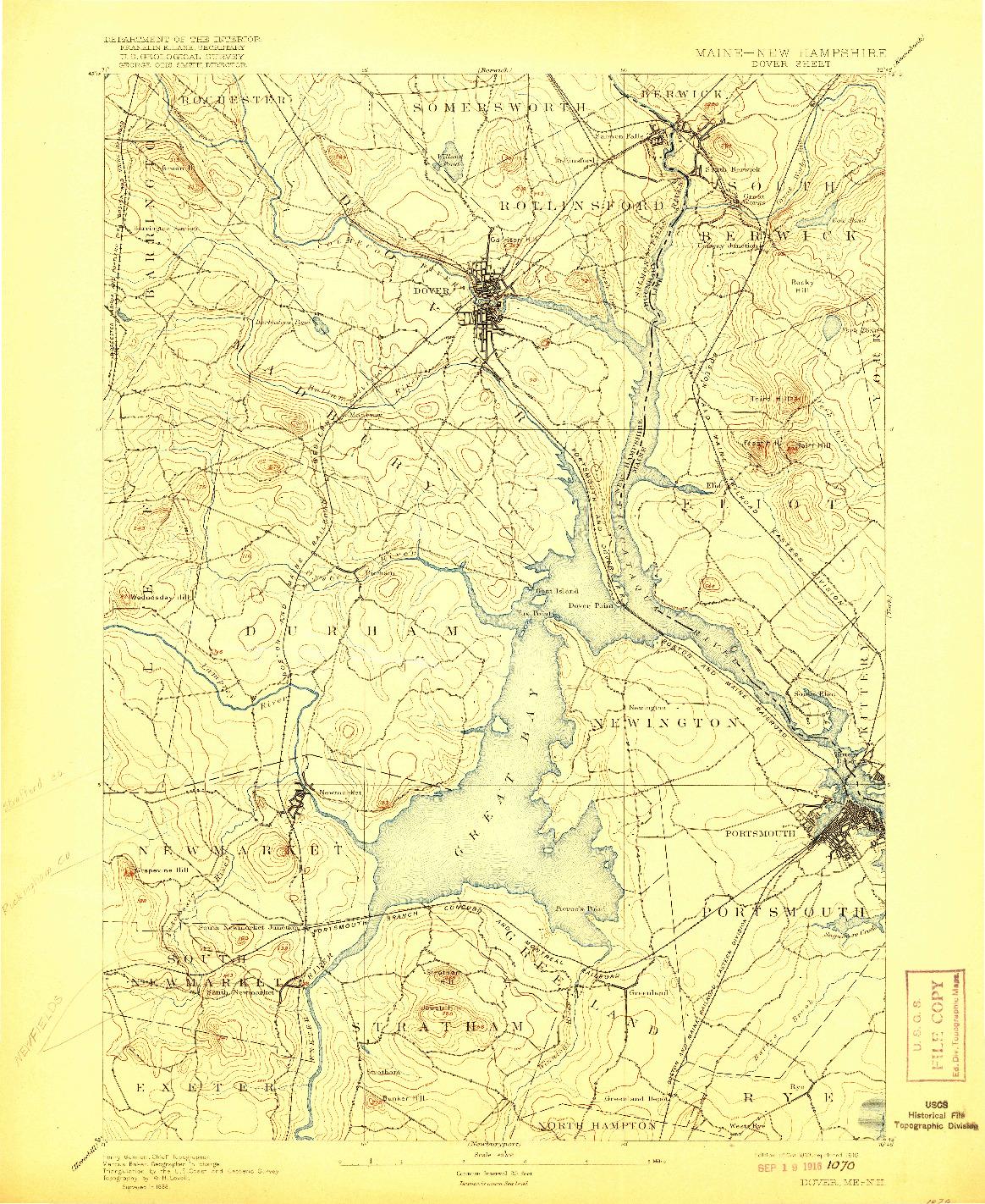 USGS 1:62500-SCALE QUADRANGLE FOR DOVER, ME 1893