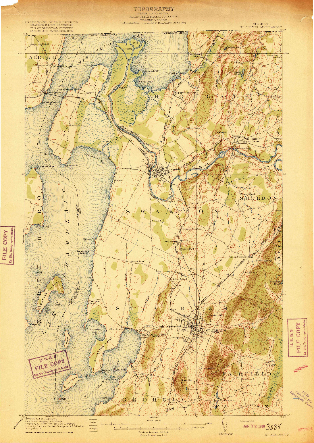 USGS 1:62500-SCALE QUADRANGLE FOR ST. ALBANS, VT 1916