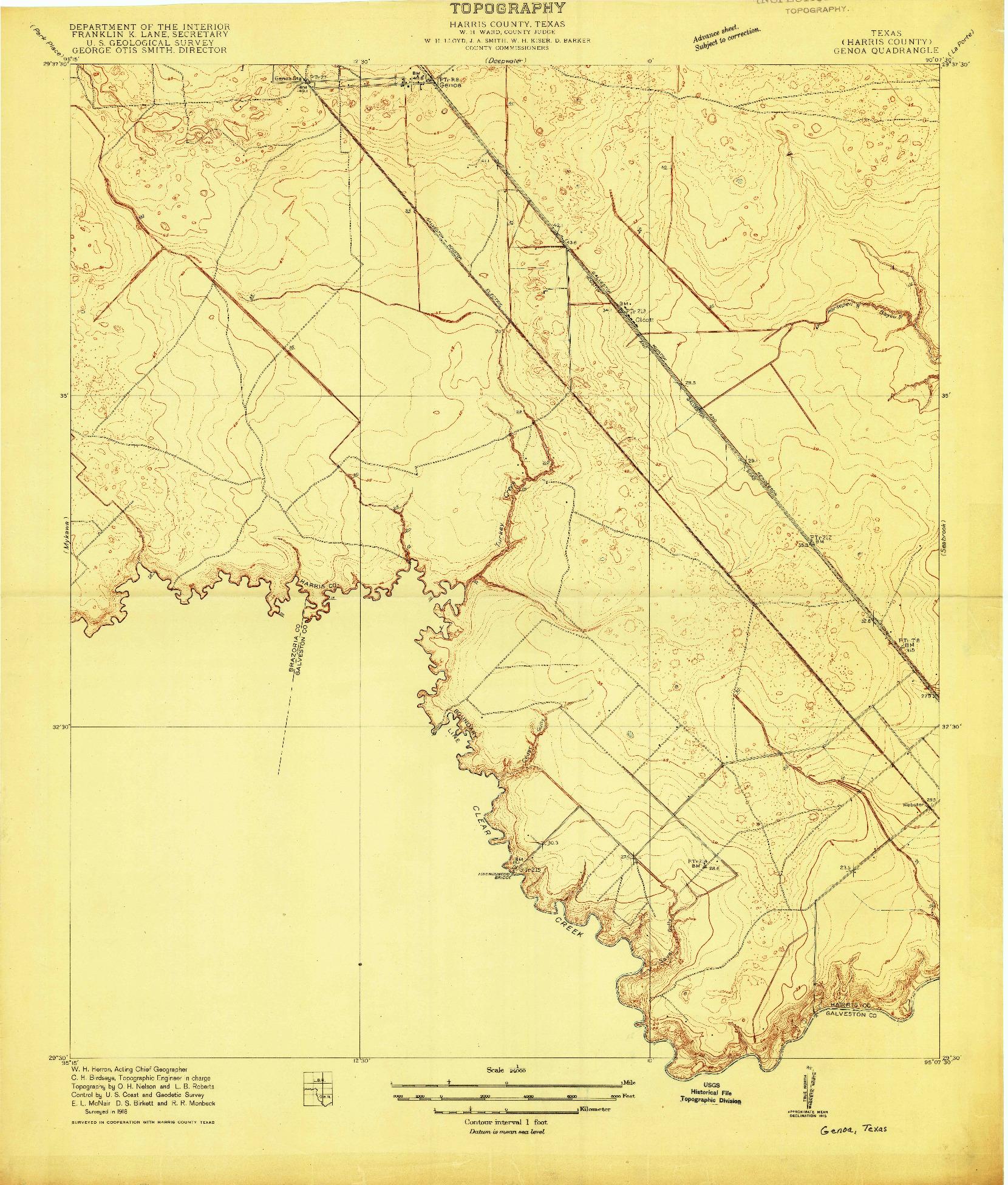 USGS 1:24000-SCALE QUADRANGLE FOR GENOA, TX 1916