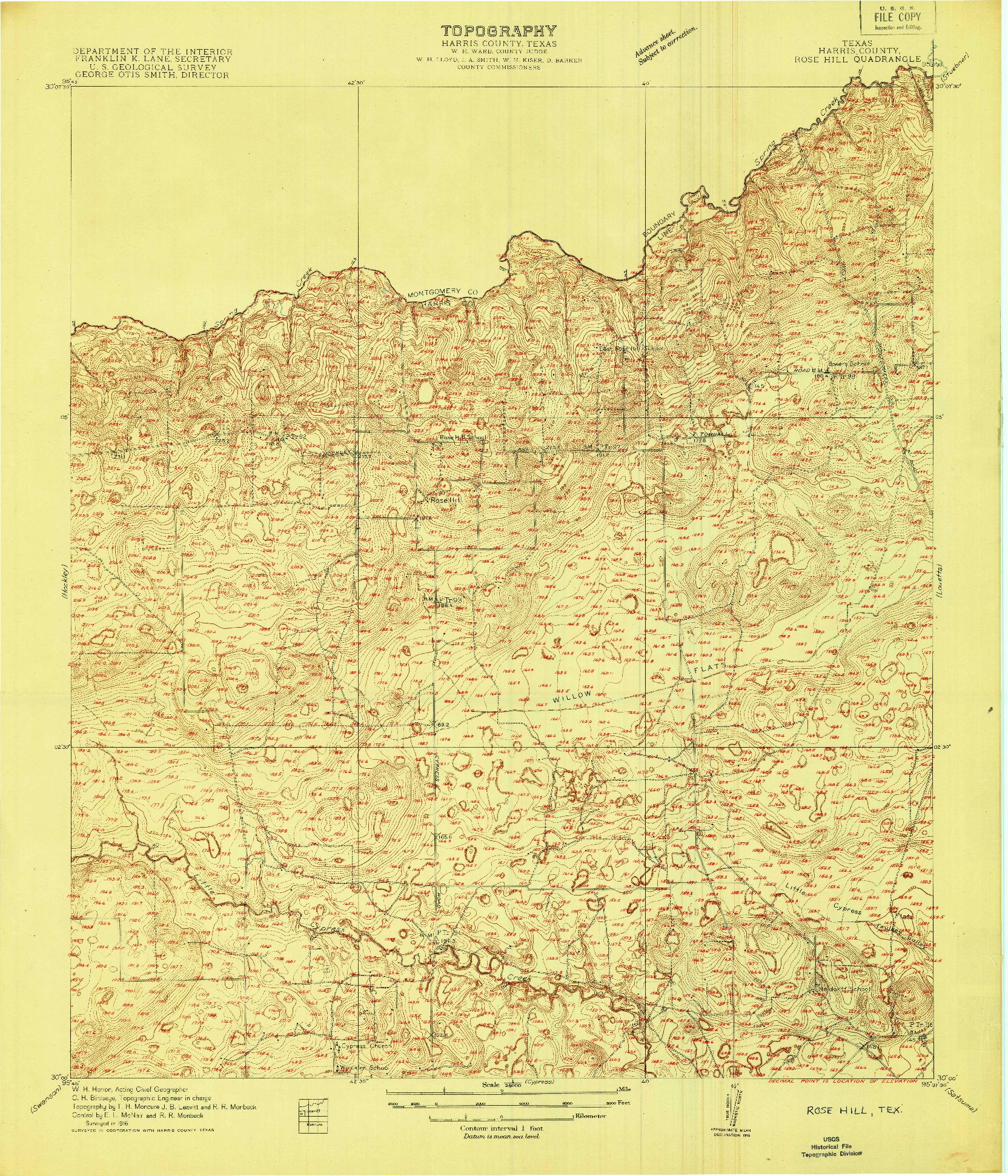 USGS 1:24000-SCALE QUADRANGLE FOR ROSE HILL, TX 1916