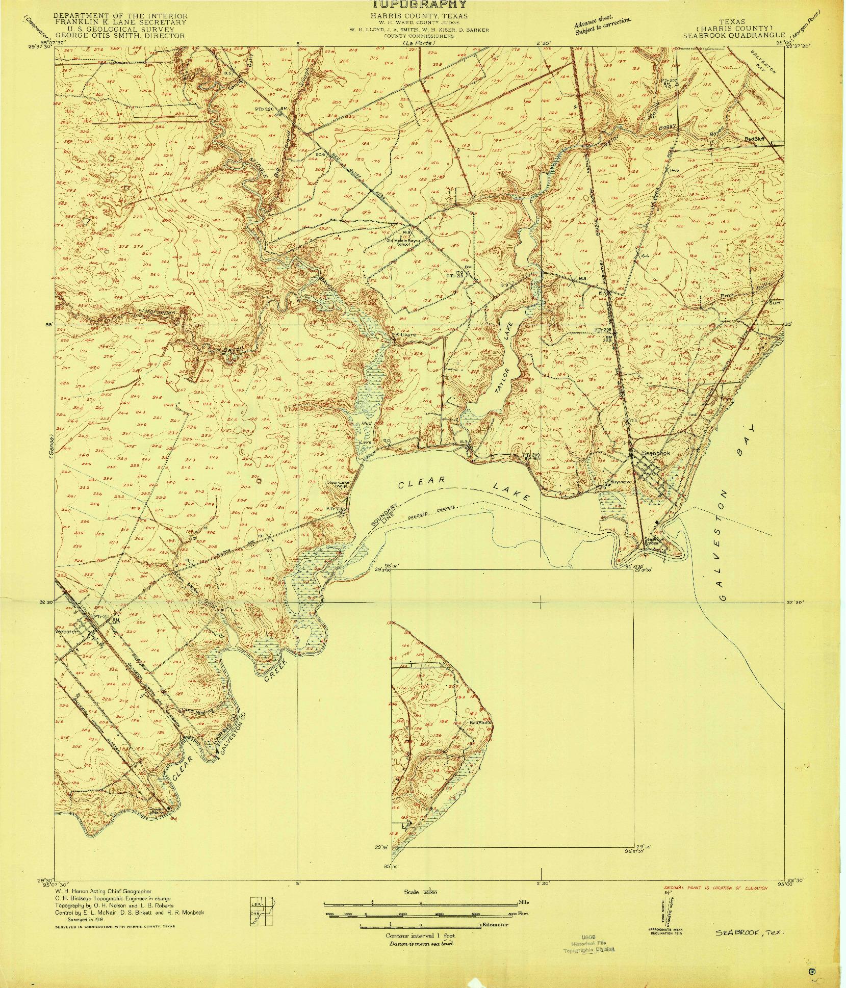 USGS 1:24000-SCALE QUADRANGLE FOR SEABROOK, TX 1916
