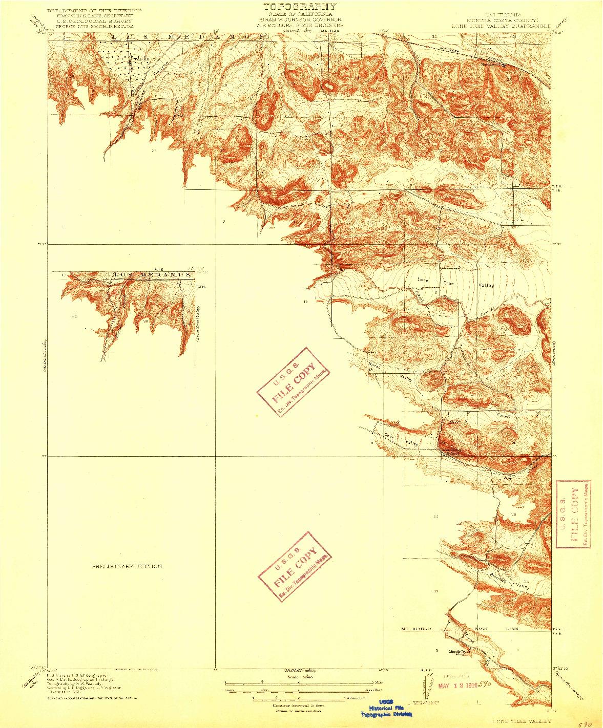 USGS 1:31680-SCALE QUADRANGLE FOR LONE TREE VALLEY, CA 1916
