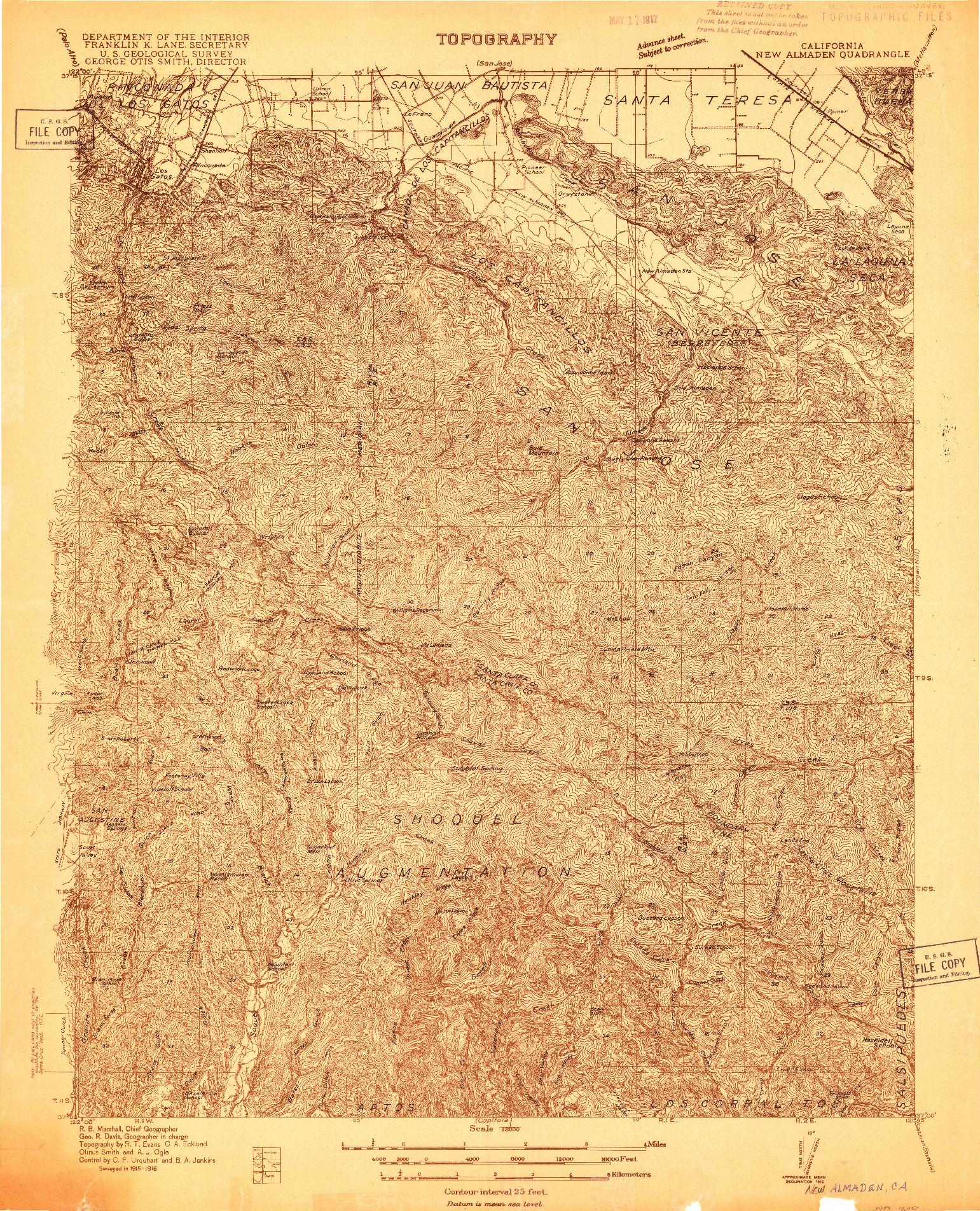 USGS 1:48000-SCALE QUADRANGLE FOR NEW ALMADEN, CA 1916