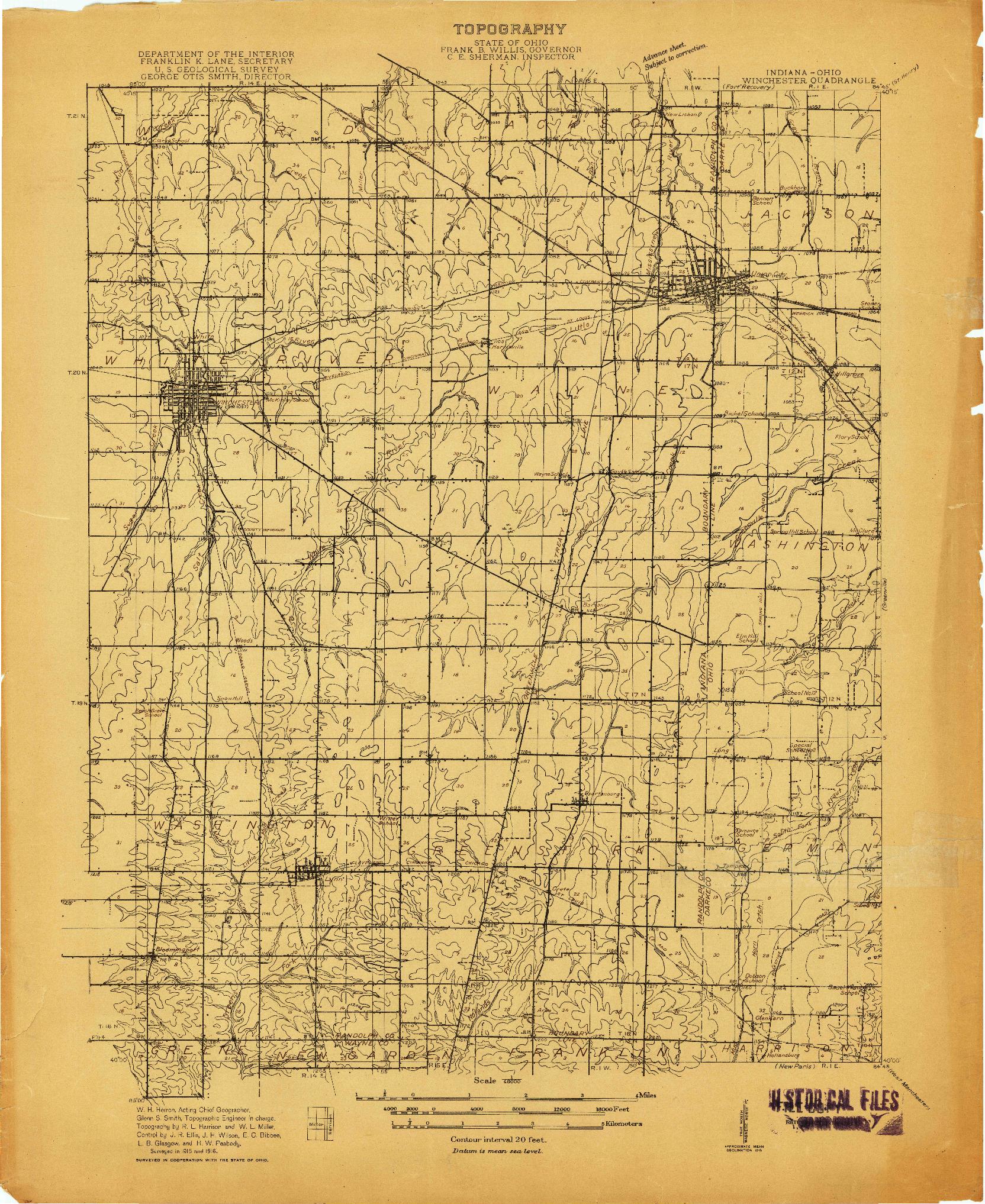 USGS 1:48000-SCALE QUADRANGLE FOR WINCHESTER, IN 1916