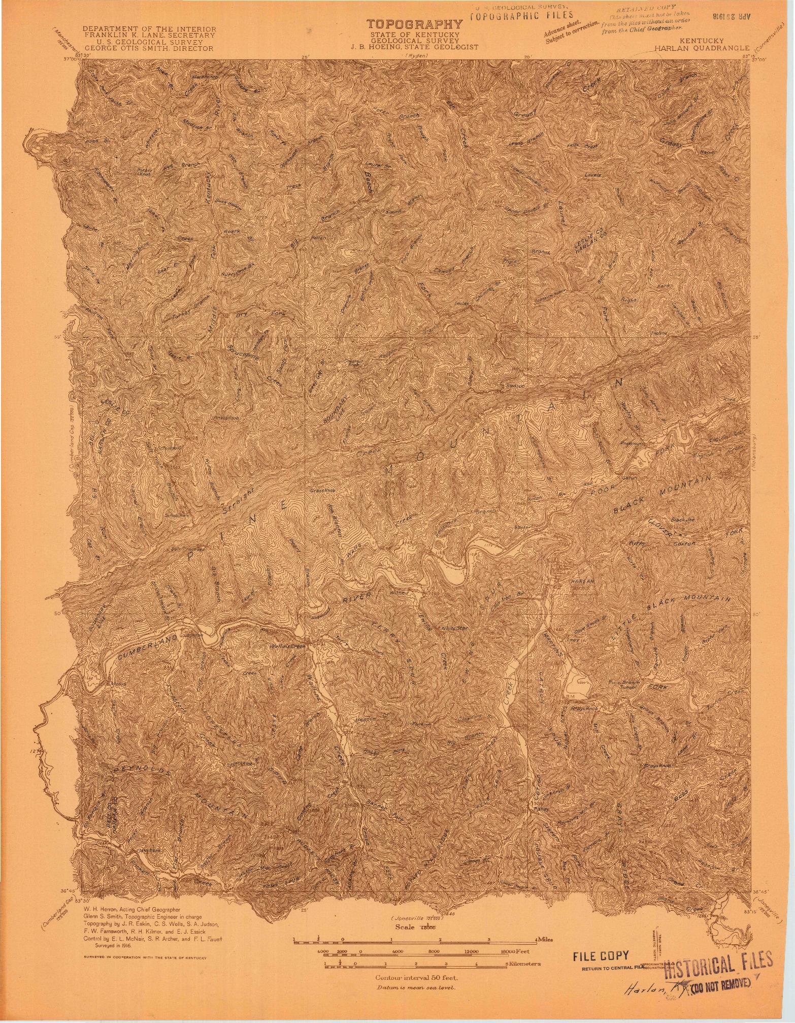 USGS 1:48000-SCALE QUADRANGLE FOR HARLAN, KY 1916
