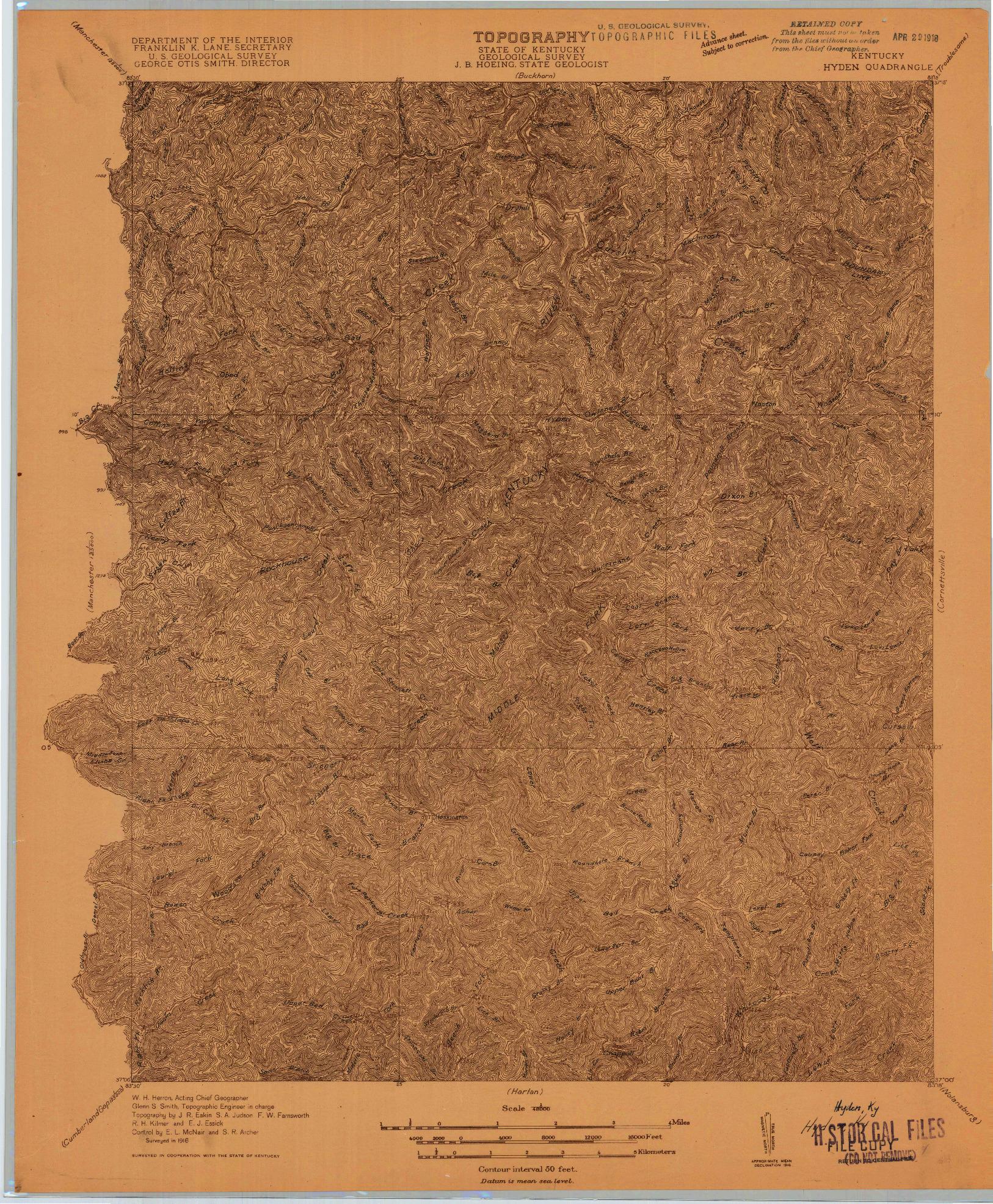 USGS 1:48000-SCALE QUADRANGLE FOR HYDEN, KY 1916