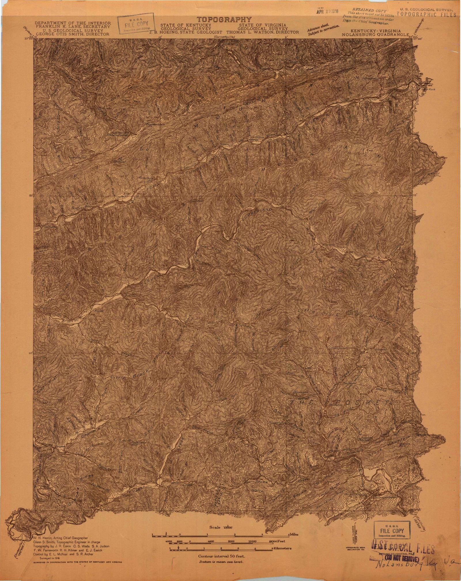 USGS 1:48000-SCALE QUADRANGLE FOR NOLANSBURG, KY 1916