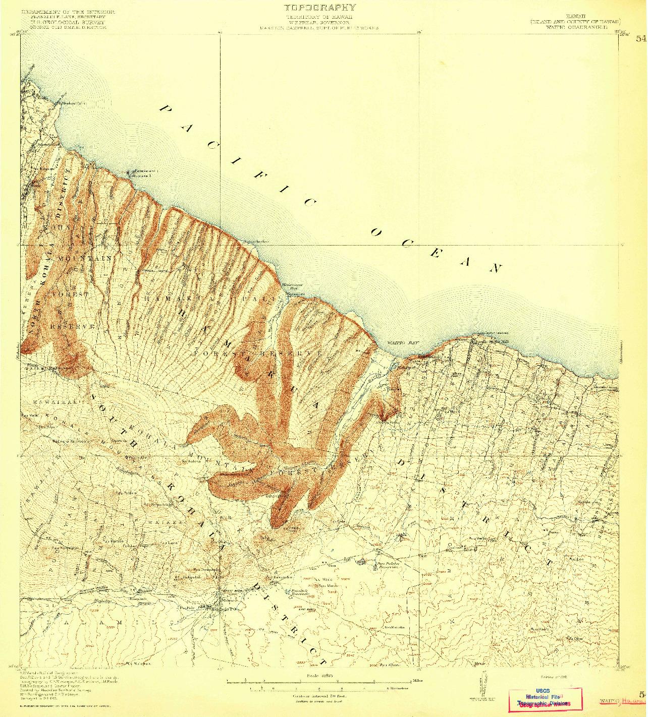 USGS 1:62500-SCALE QUADRANGLE FOR WAIPIO, HI 1916