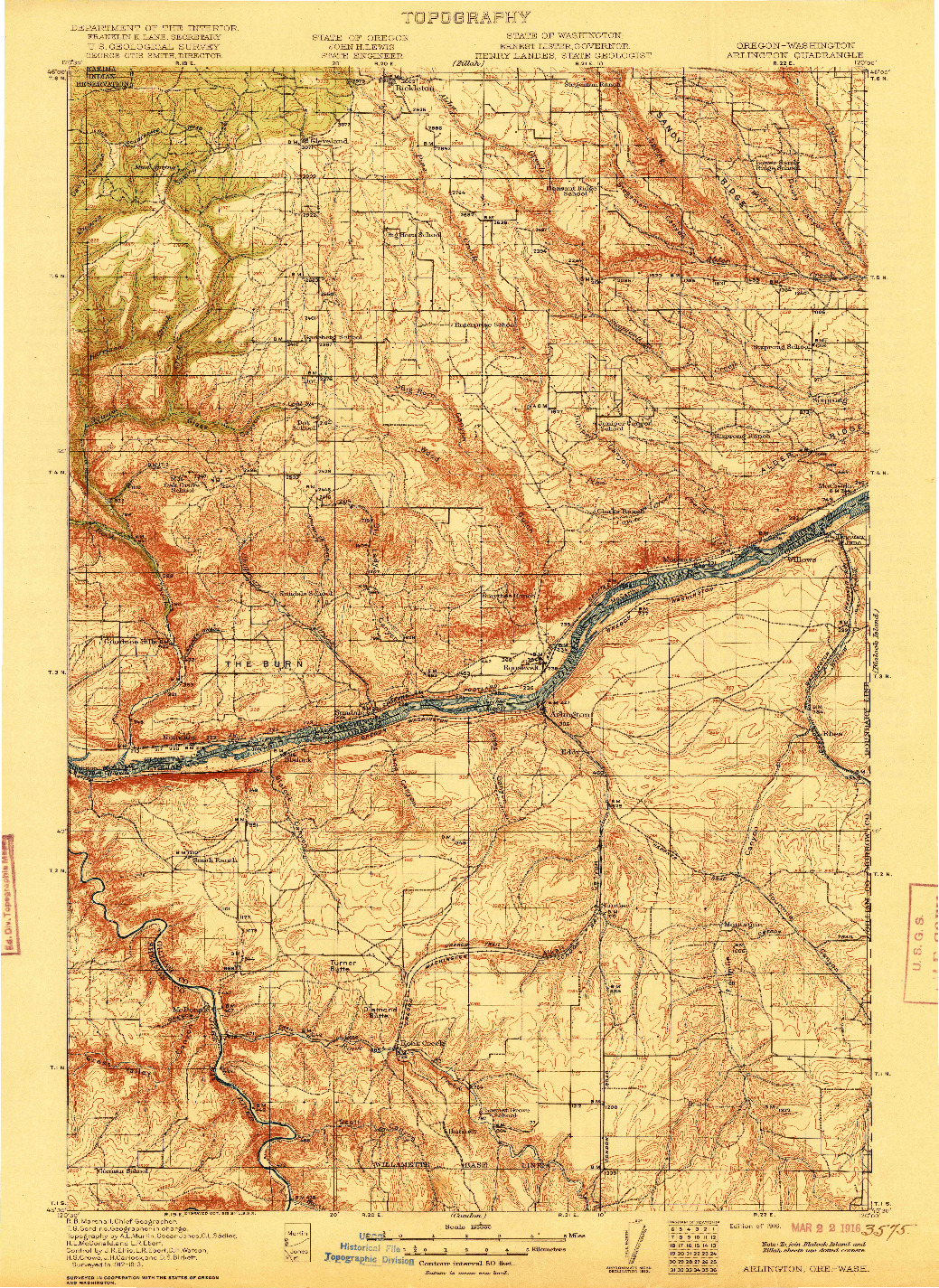 USGS 1:125000-SCALE QUADRANGLE FOR ARLINGTON, OR 1916