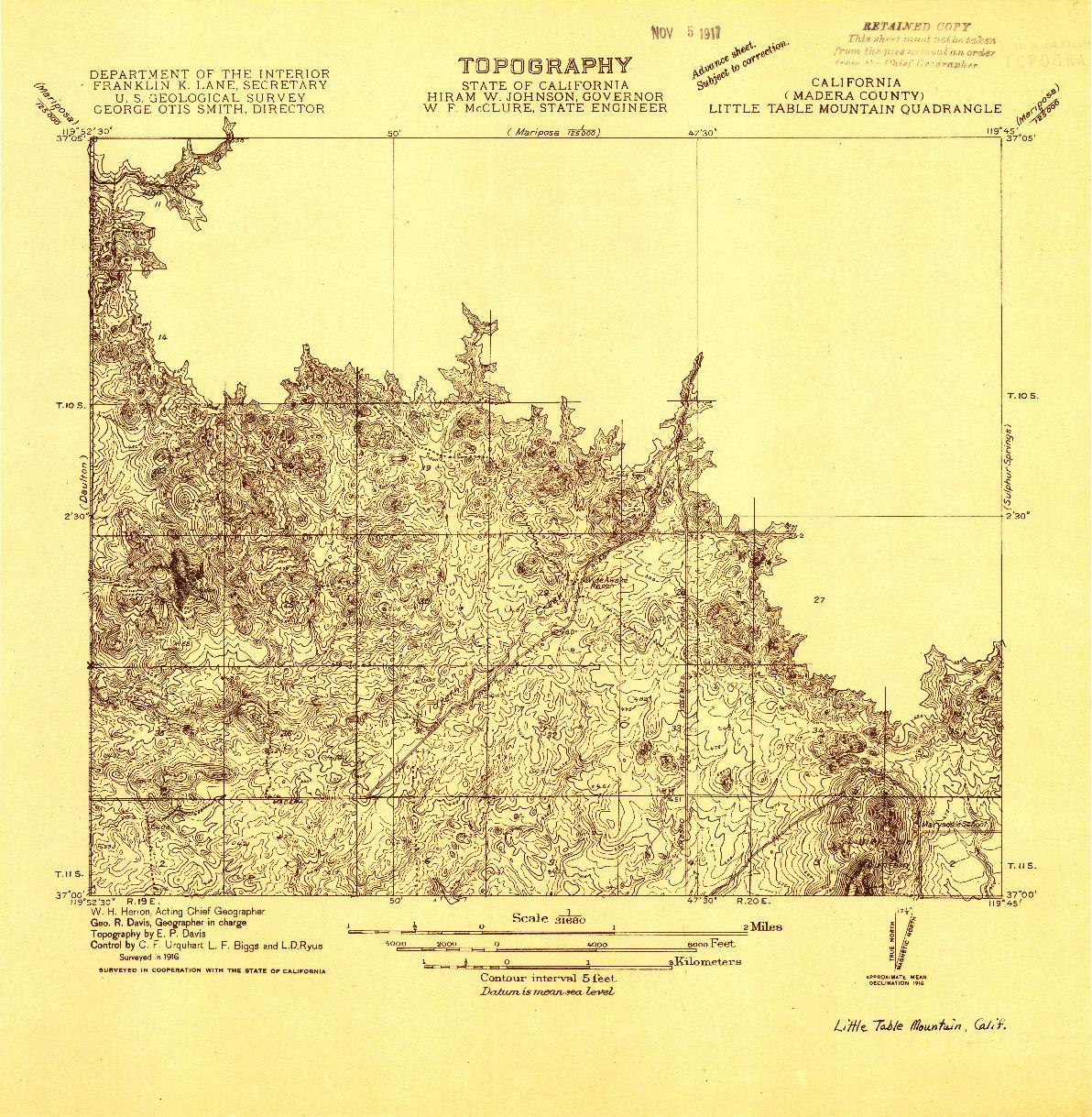 USGS 1:31680-SCALE QUADRANGLE FOR LITTLE TABLE MOUNTAIN, CA 1916