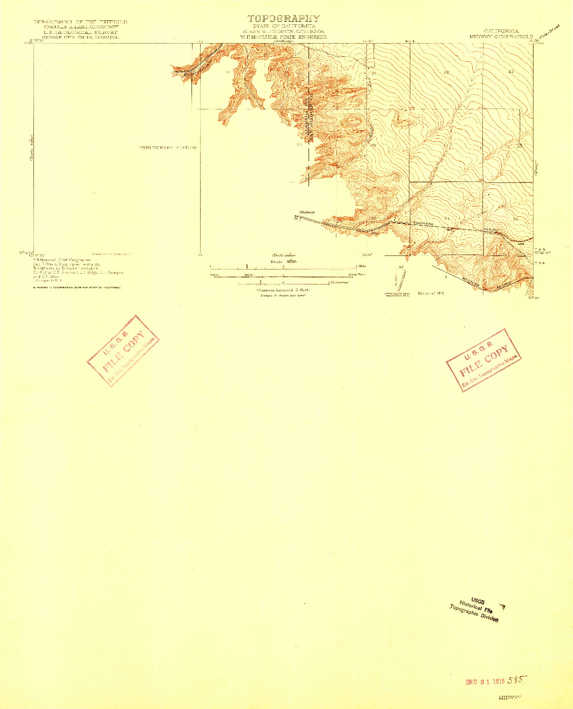 USGS 1:31680-SCALE QUADRANGLE FOR MIDWAY, CA 1916