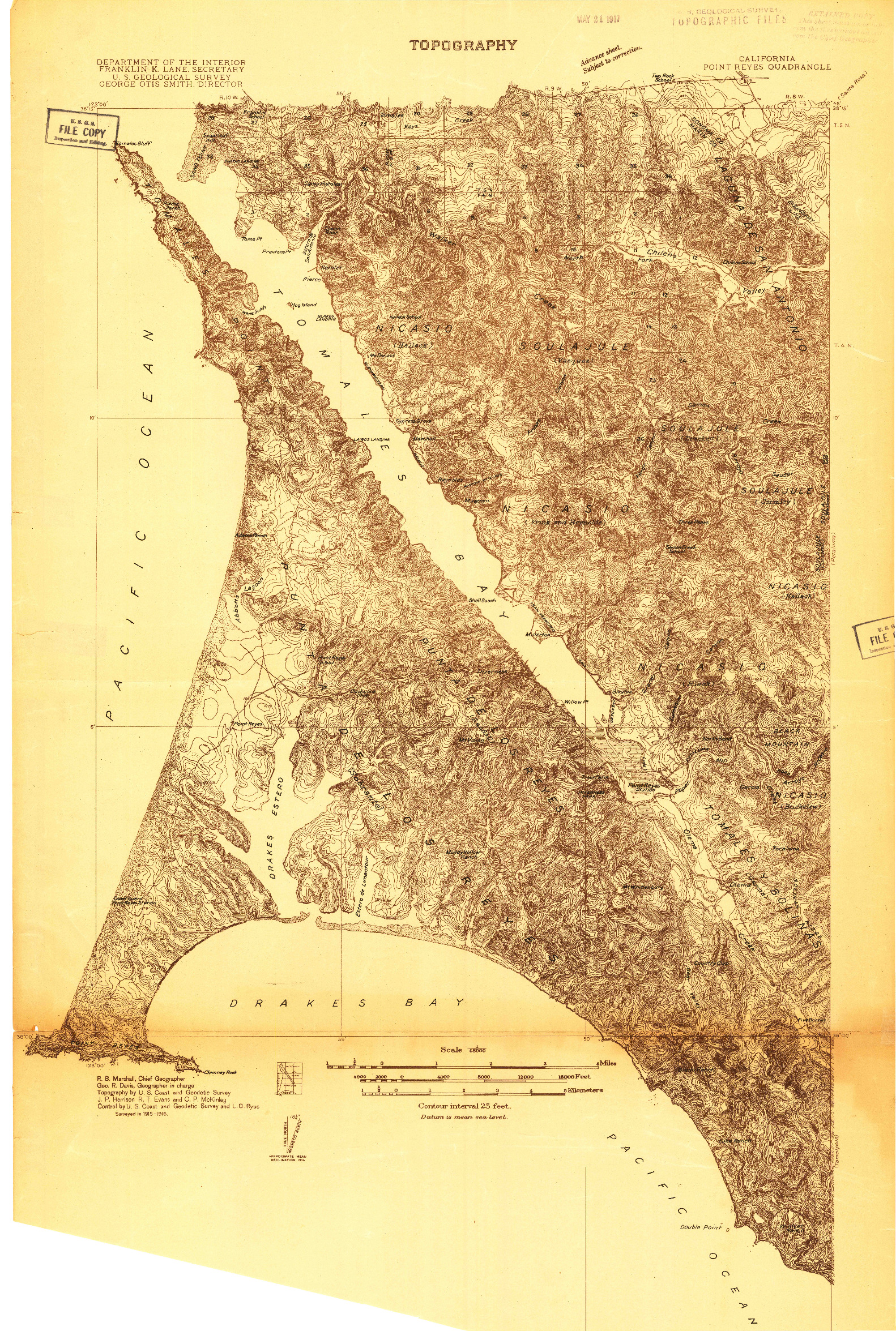 USGS 1:48000-SCALE QUADRANGLE FOR POINT REYES, CA 1916