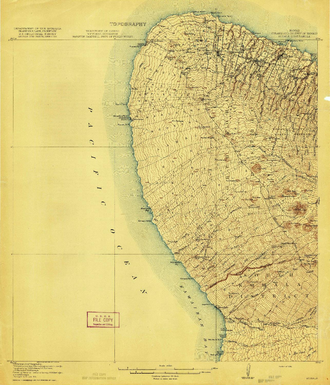 USGS 1:62500-SCALE QUADRANGLE FOR KOHALA, HI 1916