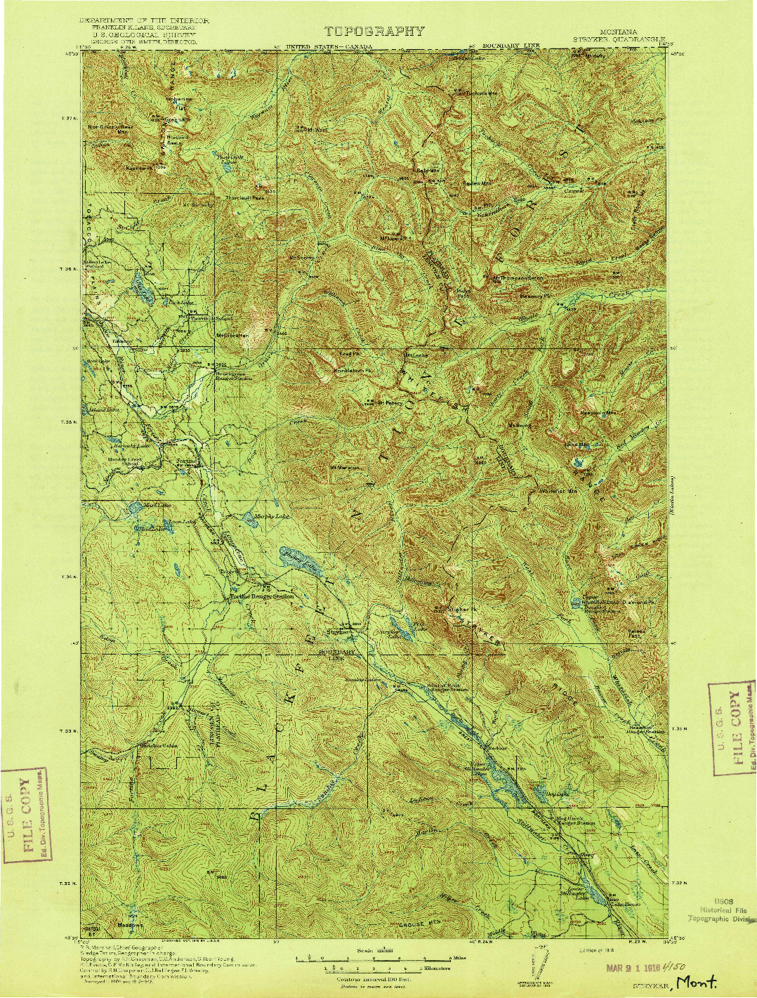 USGS 1:125000-SCALE QUADRANGLE FOR STRYKER, MT 1916
