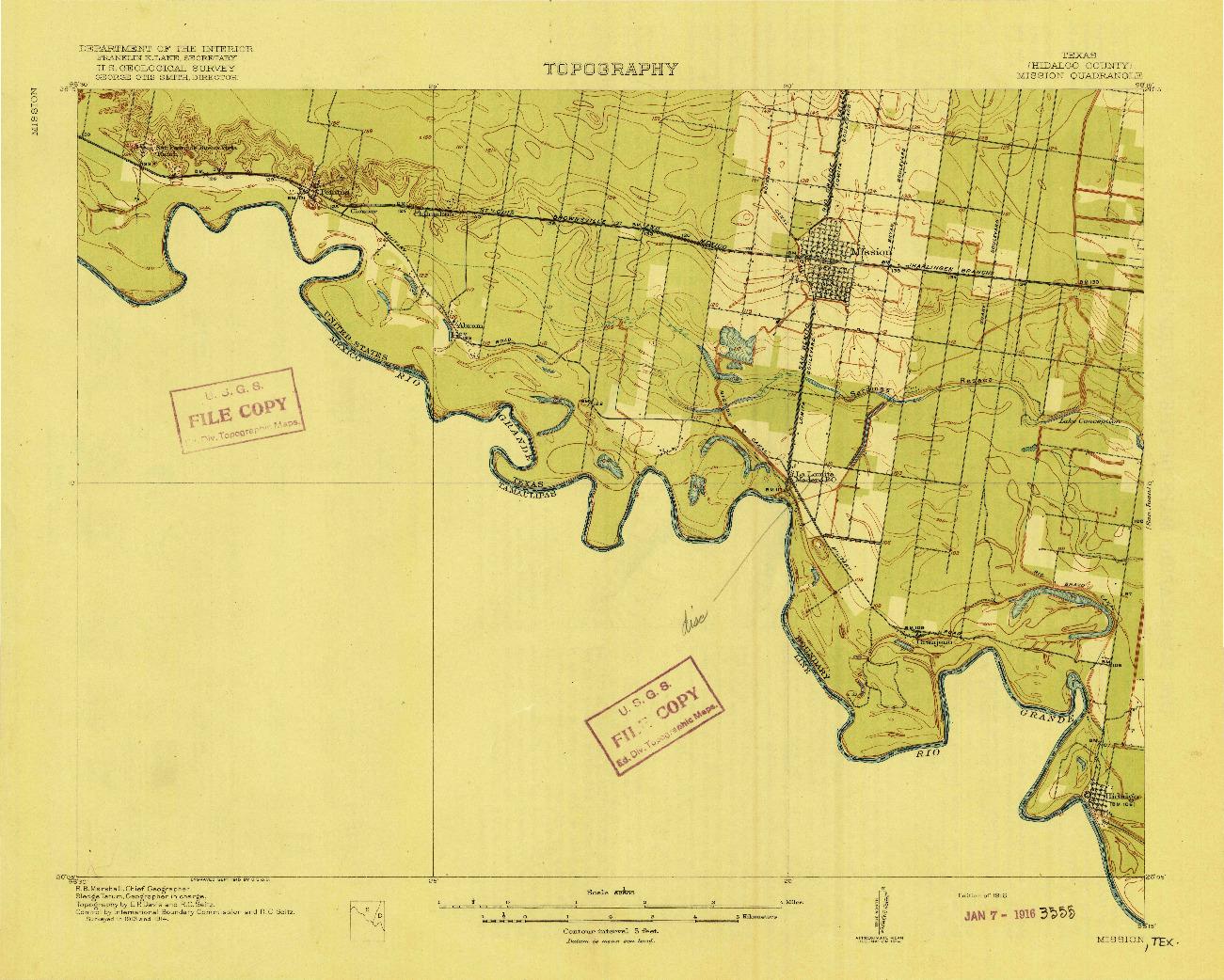 USGS 1:62500-SCALE QUADRANGLE FOR MISSION, TX 1916