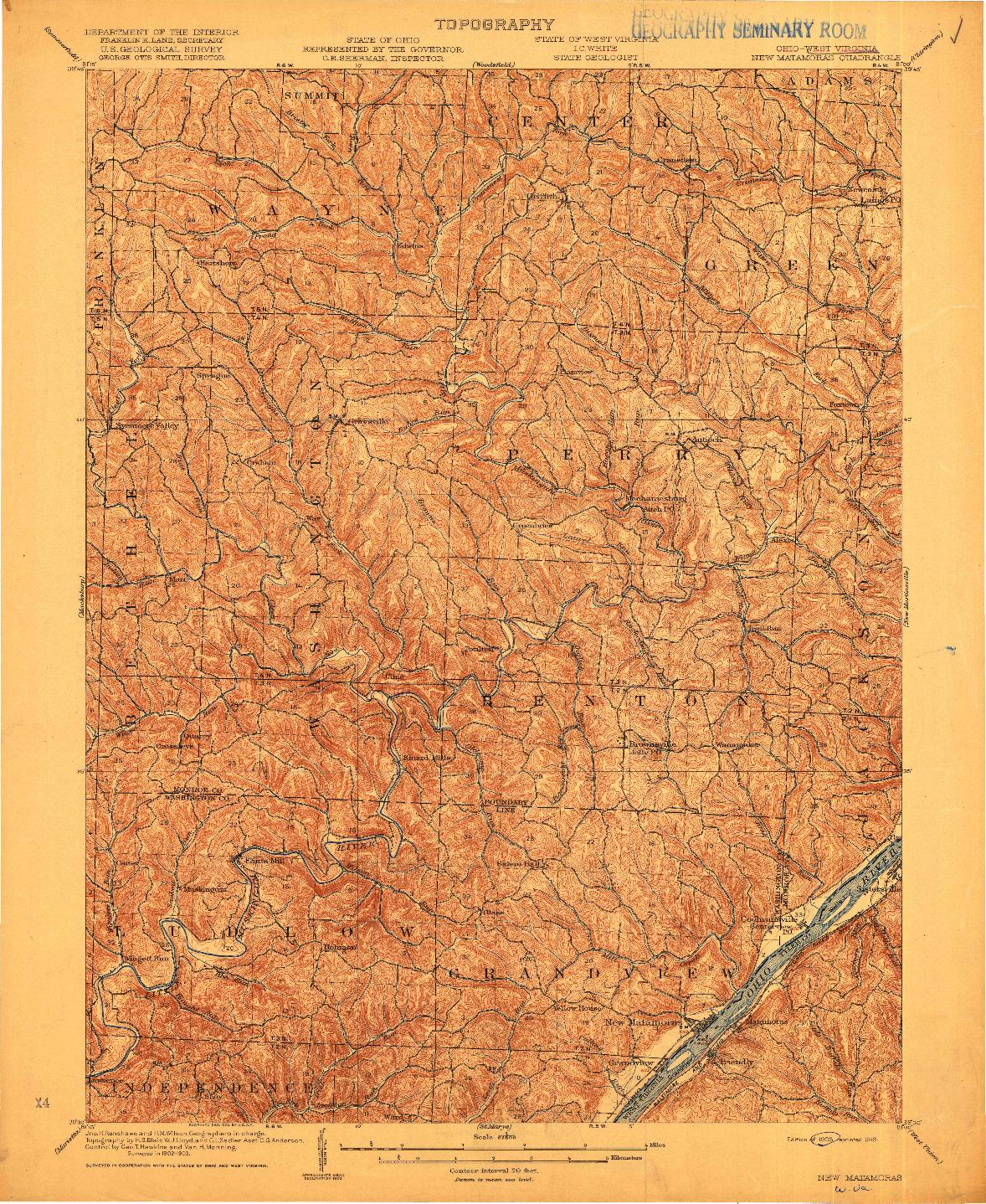 USGS 1:62500-SCALE QUADRANGLE FOR NEW MATAMORAS, OH 1905
