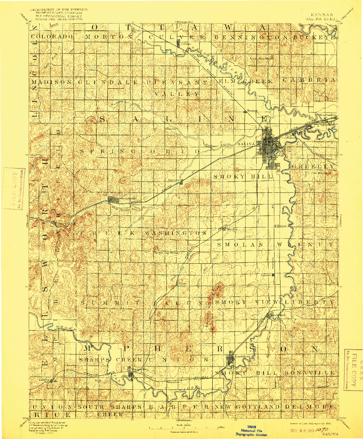 USGS 1:125000-SCALE QUADRANGLE FOR SALINA, KS 1892