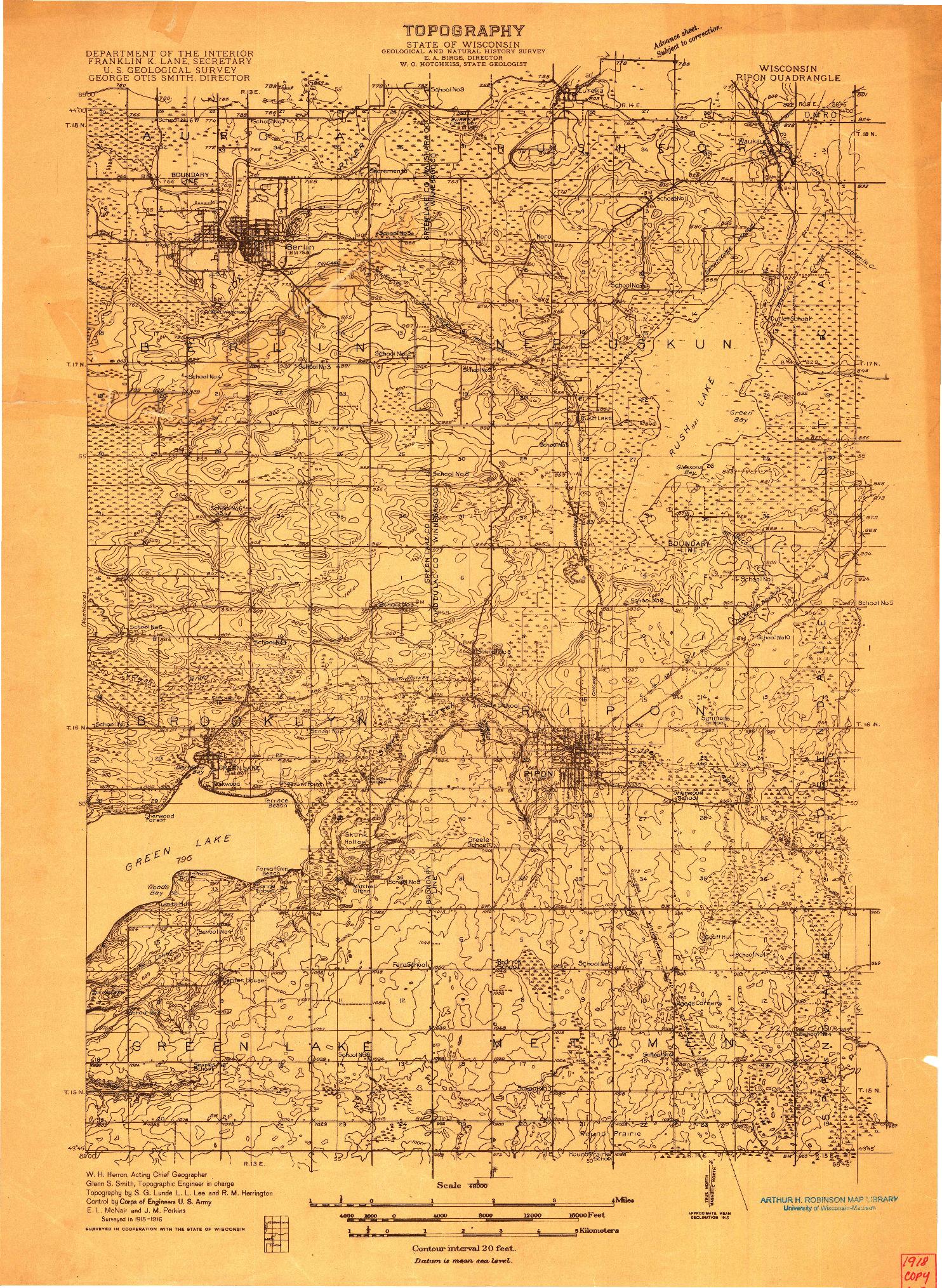 USGS 1:48000-SCALE QUADRANGLE FOR RIPON, WI 1916