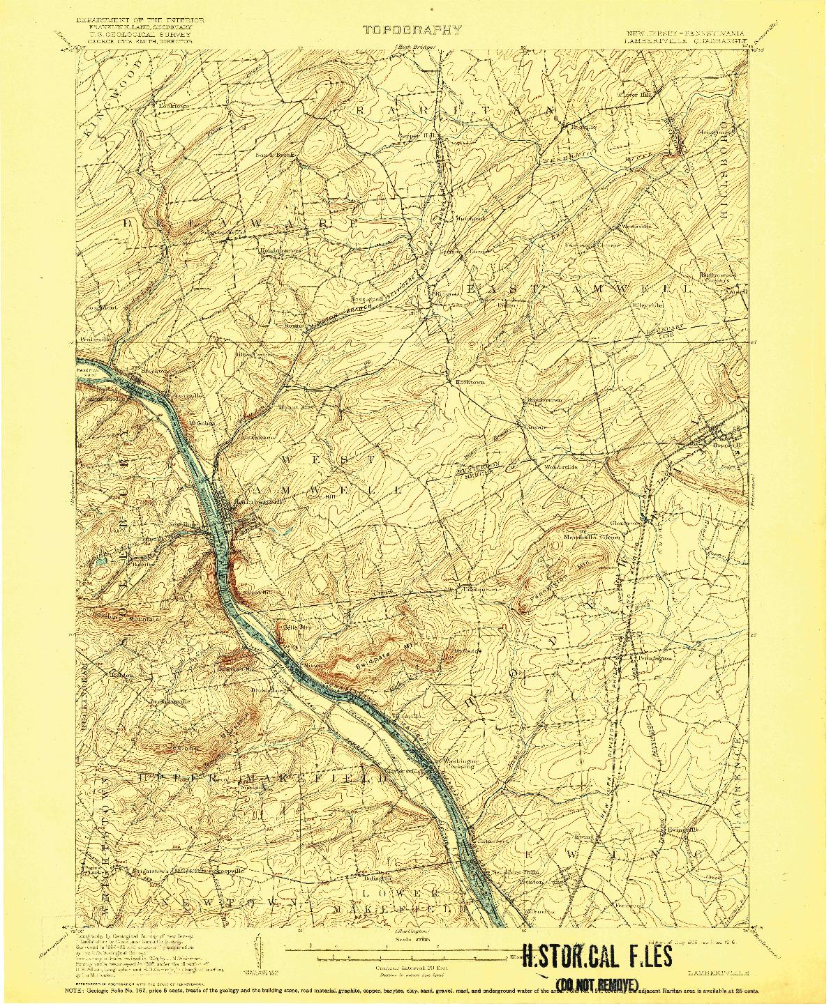 USGS 1:62500-SCALE QUADRANGLE FOR LAMBERTVILLE, NJ 1906