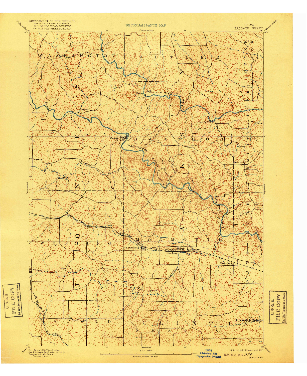 USGS 1:62500-SCALE QUADRANGLE FOR BALDWIN, IA 1891
