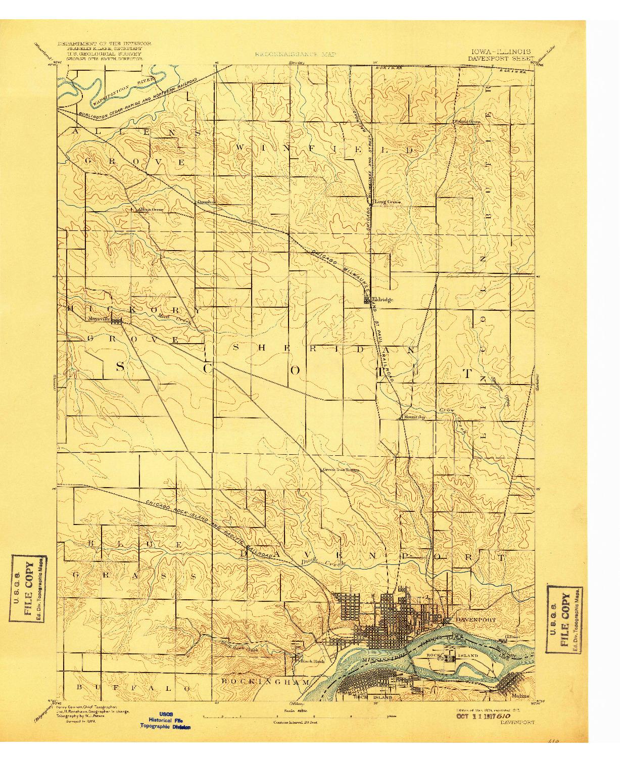 USGS 1:62500-SCALE QUADRANGLE FOR DAVENPORT, IA 1894