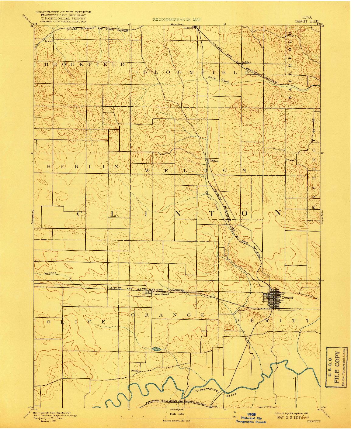 USGS 1:62500-SCALE QUADRANGLE FOR DEWITT, IA 1891
