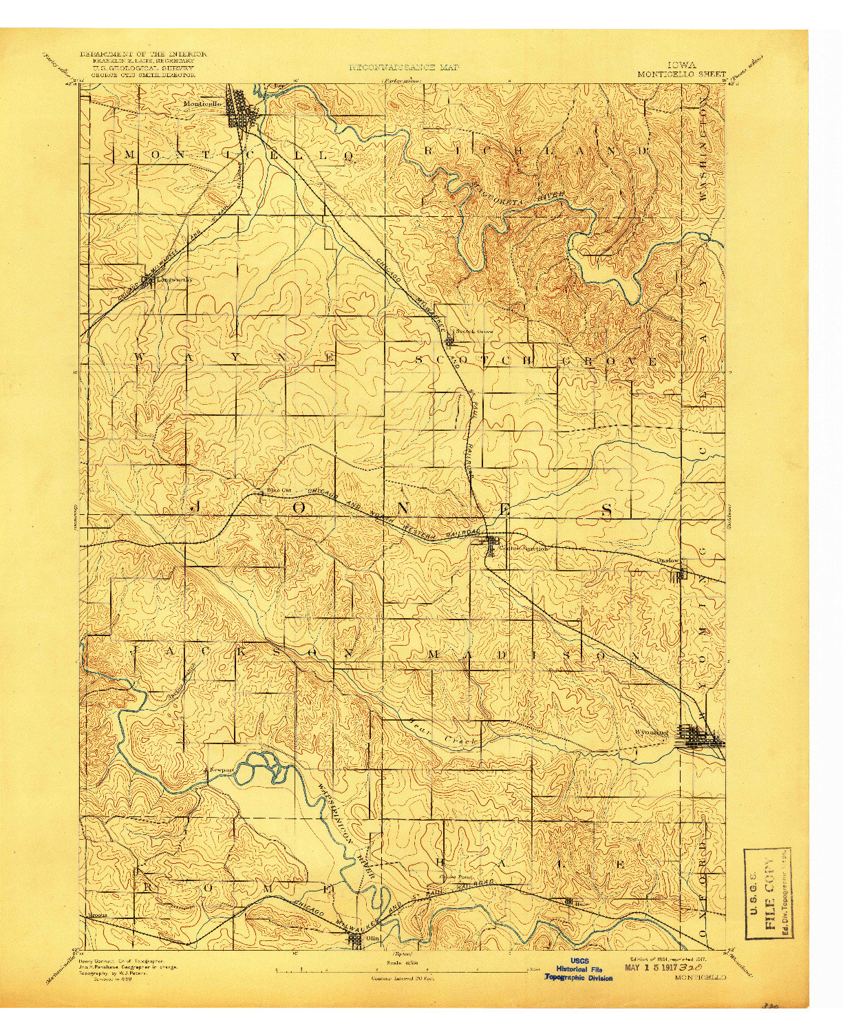 USGS 1:62500-SCALE QUADRANGLE FOR MONTICELLO, IA 1891