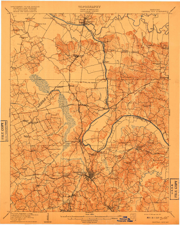 USGS 1:62500-SCALE QUADRANGLE FOR CENTRAL CITY, KY 1909