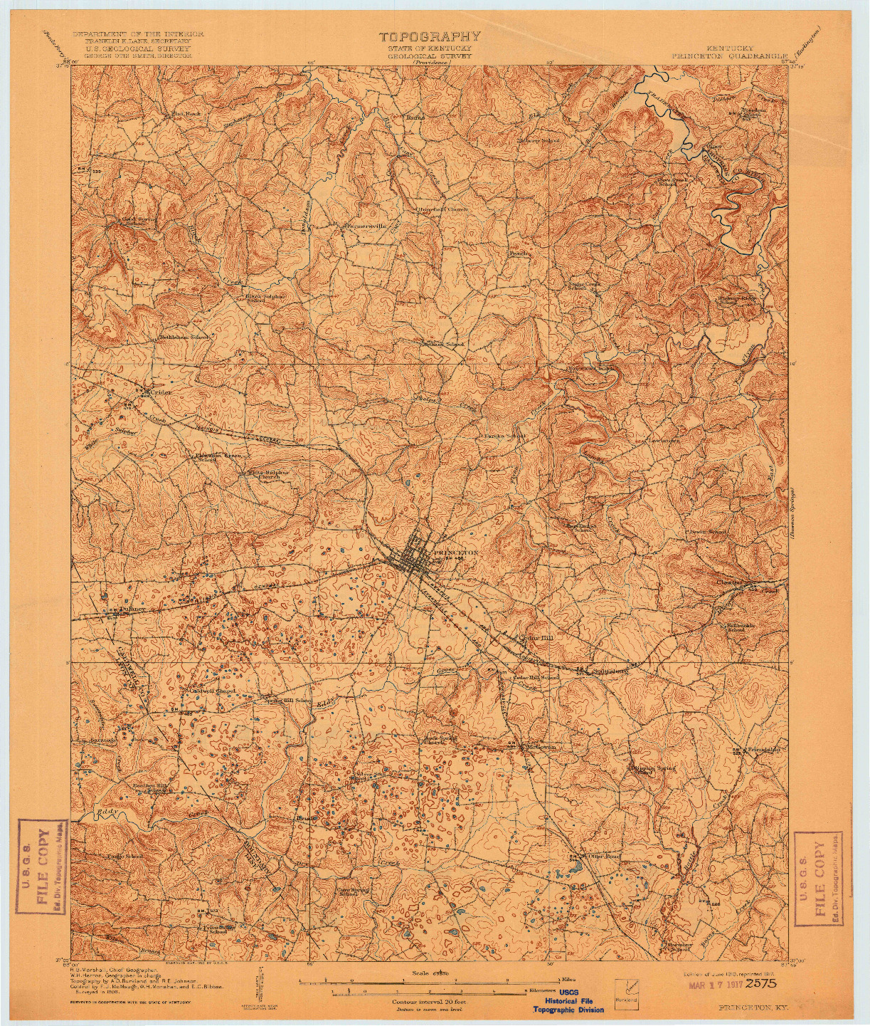 USGS 1:62500-SCALE QUADRANGLE FOR PRINCETON, KY 1910