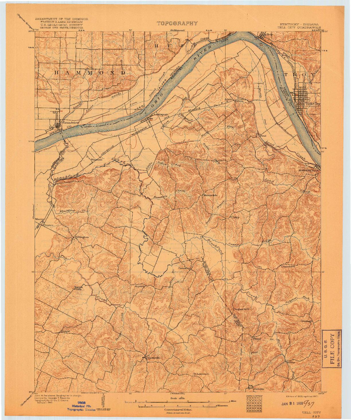 USGS 1:62500-SCALE QUADRANGLE FOR TELL CITY, KY 1903