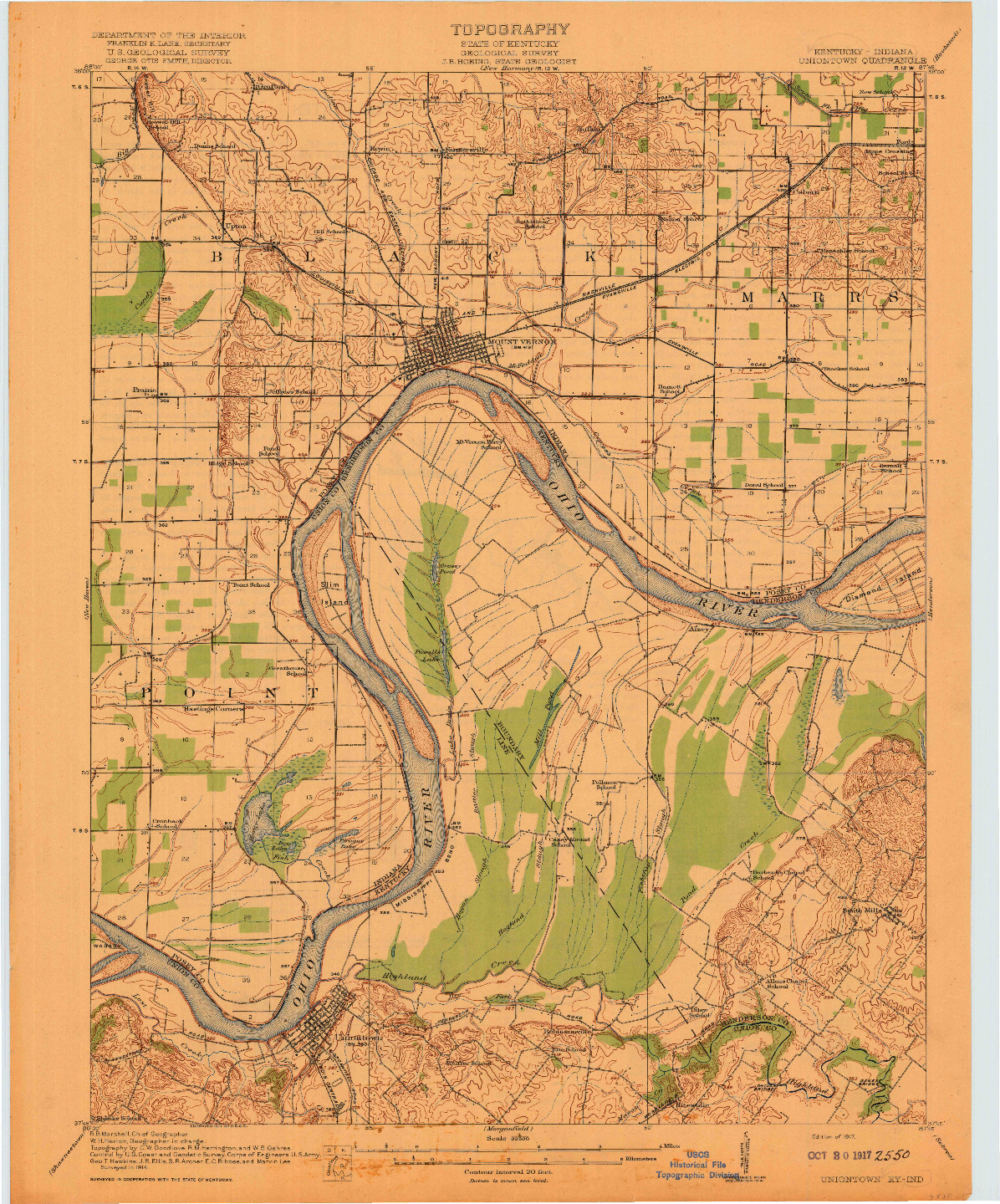 USGS 1:62500-SCALE QUADRANGLE FOR UNIONTOWN, KY 1917