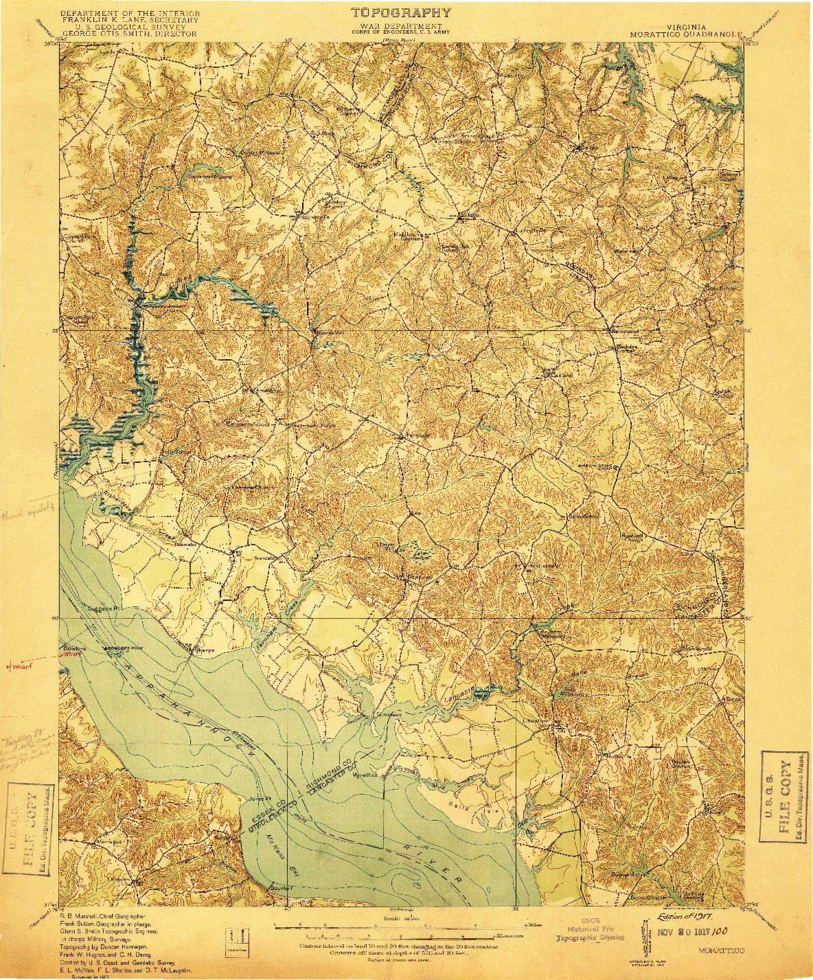 USGS 1:62500-SCALE QUADRANGLE FOR MORATTICO, VA 1917