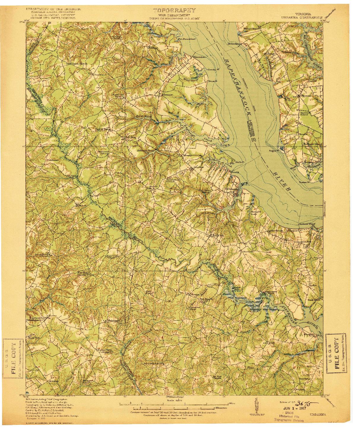 USGS 1:62500-SCALE QUADRANGLE FOR URBANNA, VA 1917