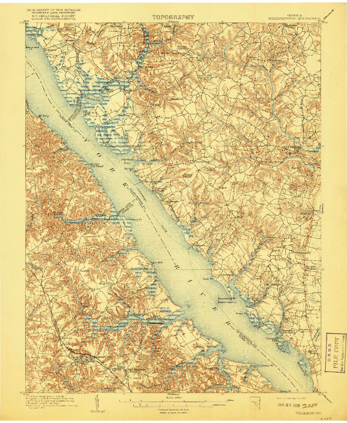 USGS 1:62500-SCALE QUADRANGLE FOR WILLIAMSBURG, VA 1906