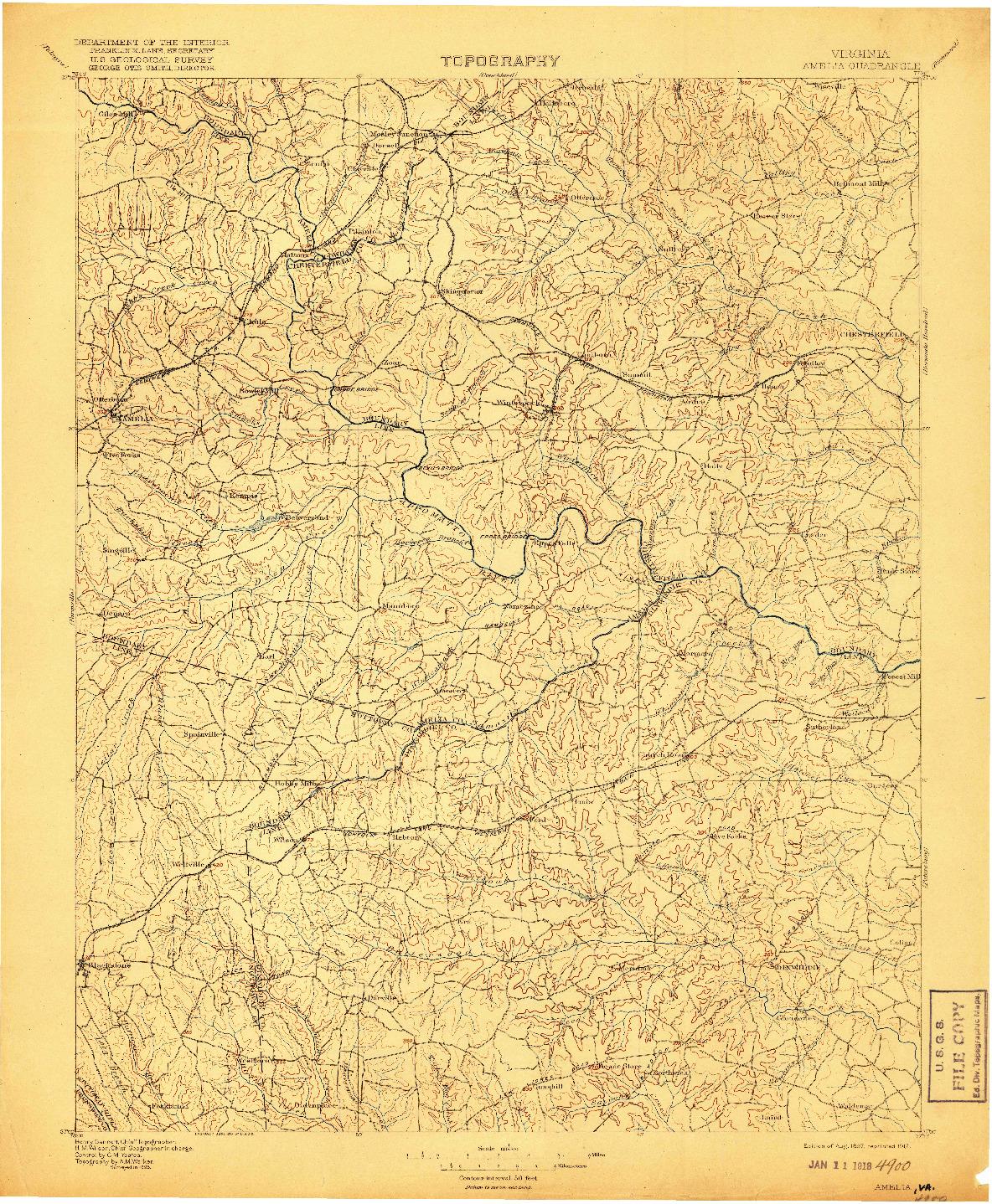 USGS 1:125000-SCALE QUADRANGLE FOR AMELIA, VA 1897