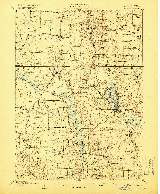 USGS 1:62500-SCALE QUADRANGLE FOR LINESVILLE, PA 1908