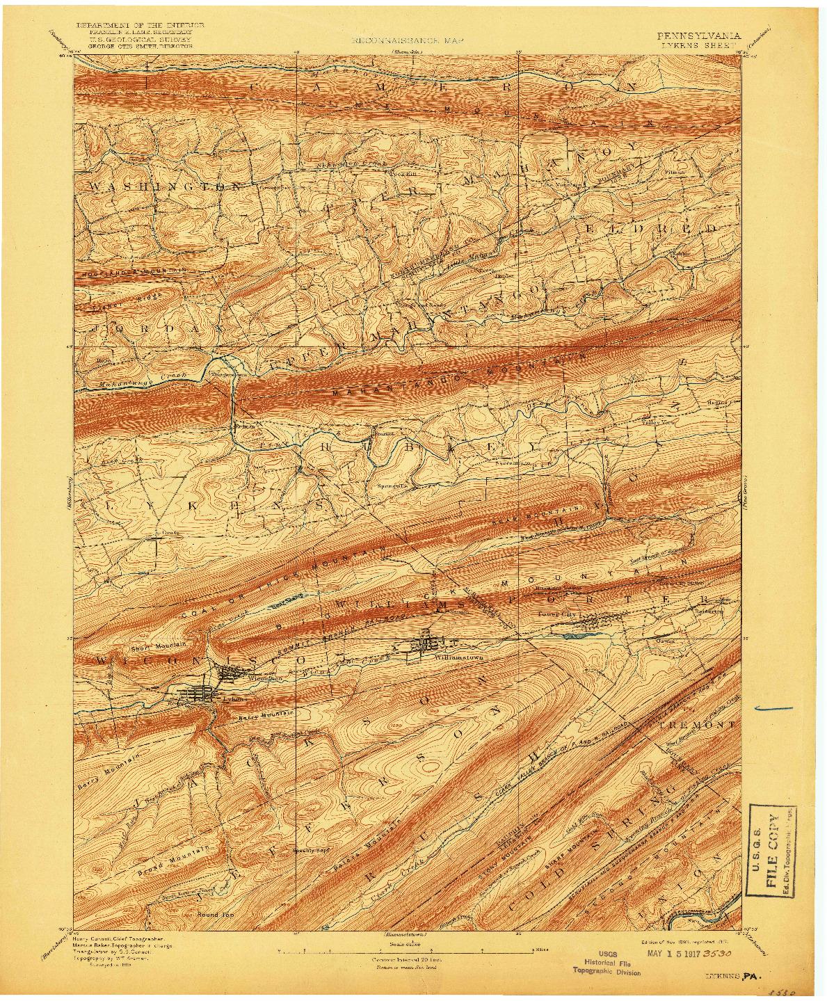 USGS 1:62500-SCALE QUADRANGLE FOR LYKENS, PA 1893