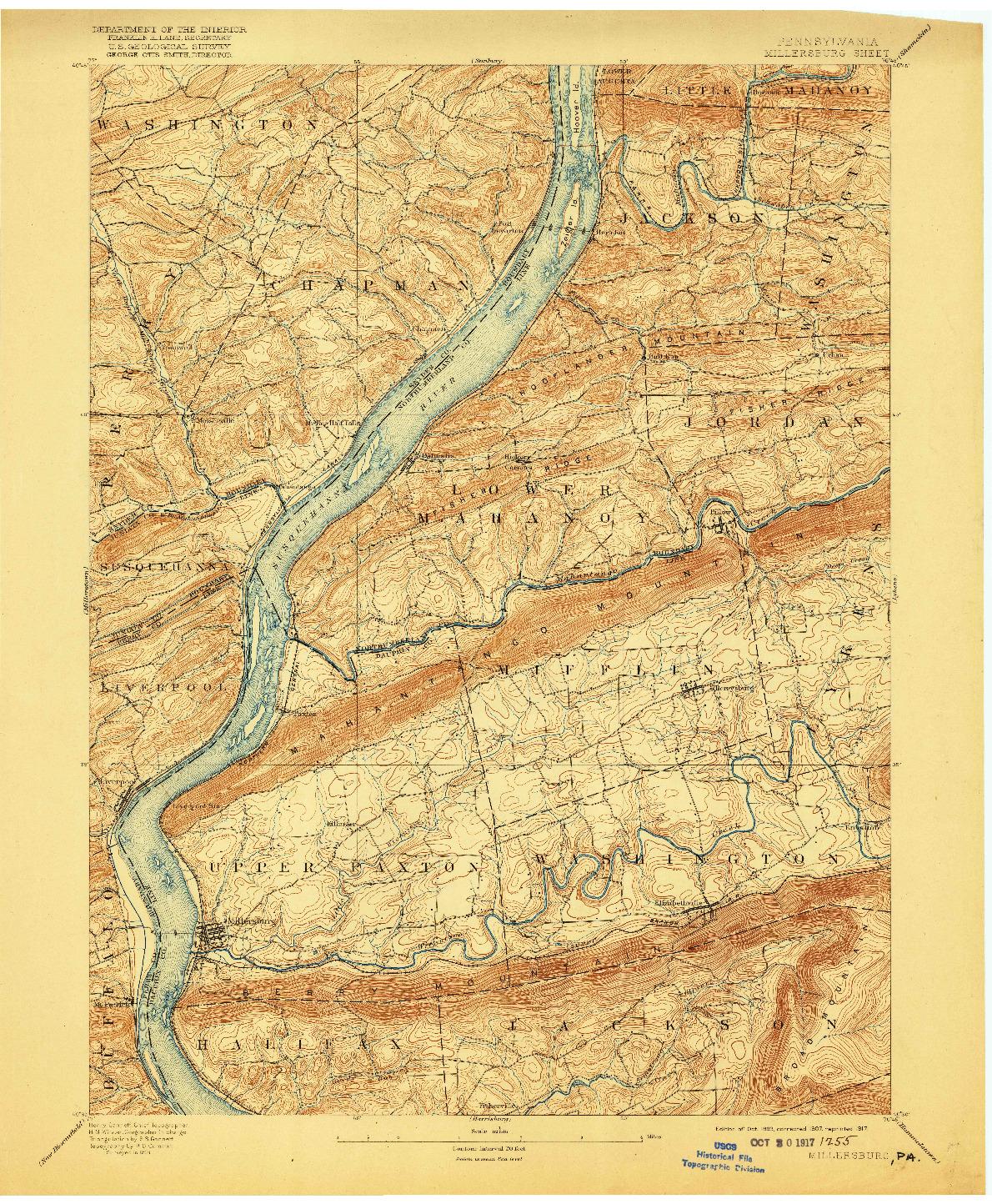 USGS 1:62500-SCALE QUADRANGLE FOR MILLERSBURG, PA 1893