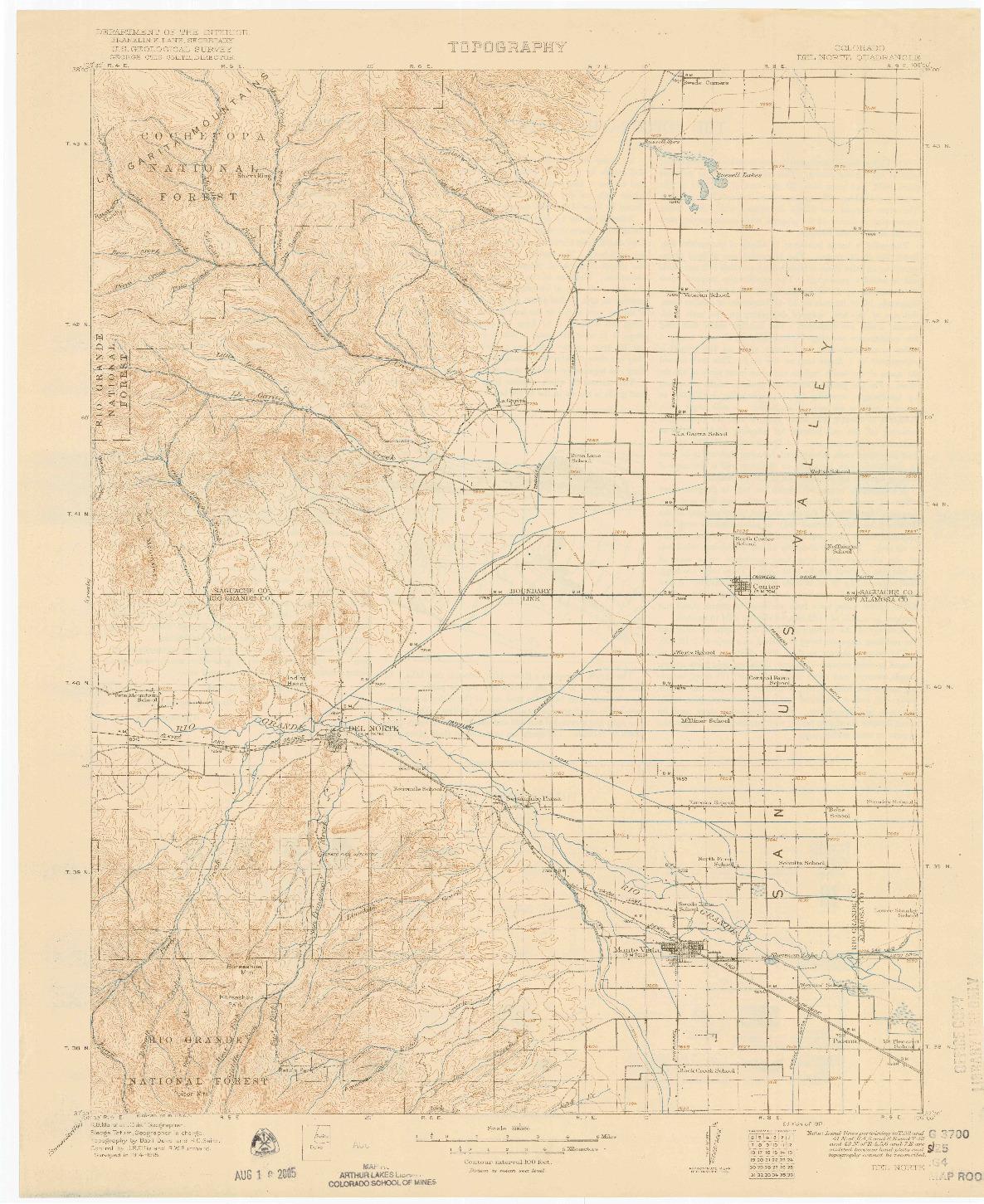 USGS 1:125000-SCALE QUADRANGLE FOR DEL NORTE, CO 1917