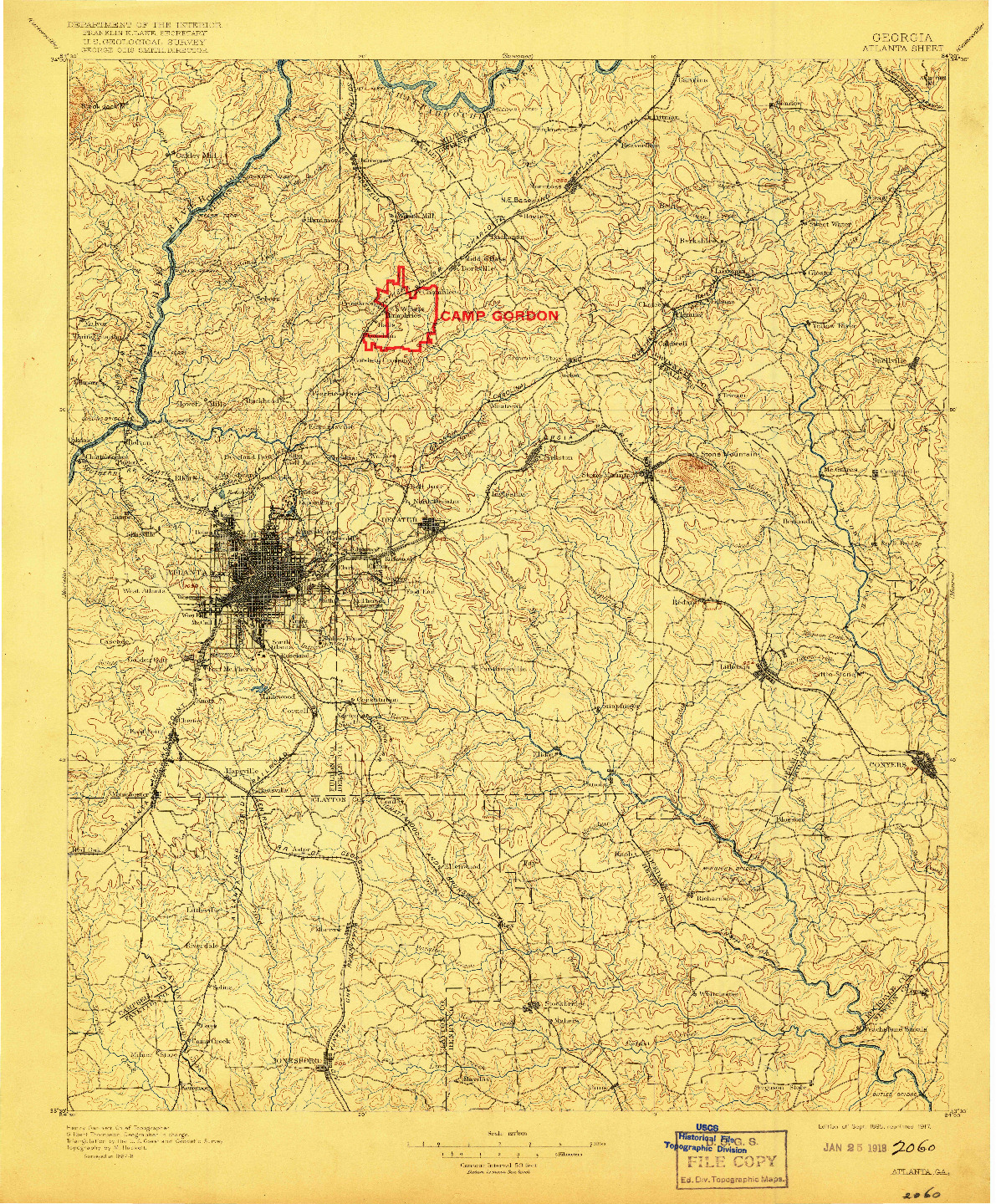 USGS 1:125000-SCALE QUADRANGLE FOR ATLANTA, GA 1895