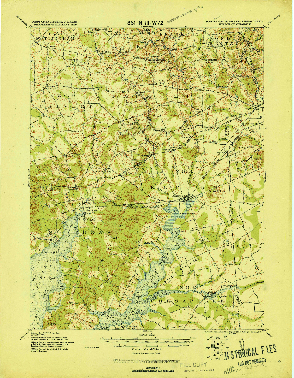 USGS 1:62500-SCALE QUADRANGLE FOR ELKTON, MD 1917