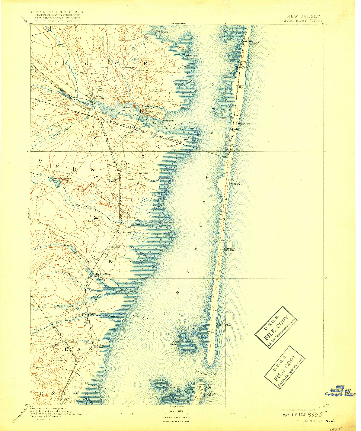 USGS 1:62500-SCALE QUADRANGLE FOR BARNEGAT, NJ 1898