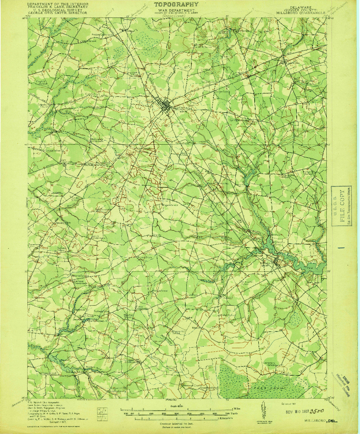 USGS 1:62500-SCALE QUADRANGLE FOR MILLSBORO, DE 1917