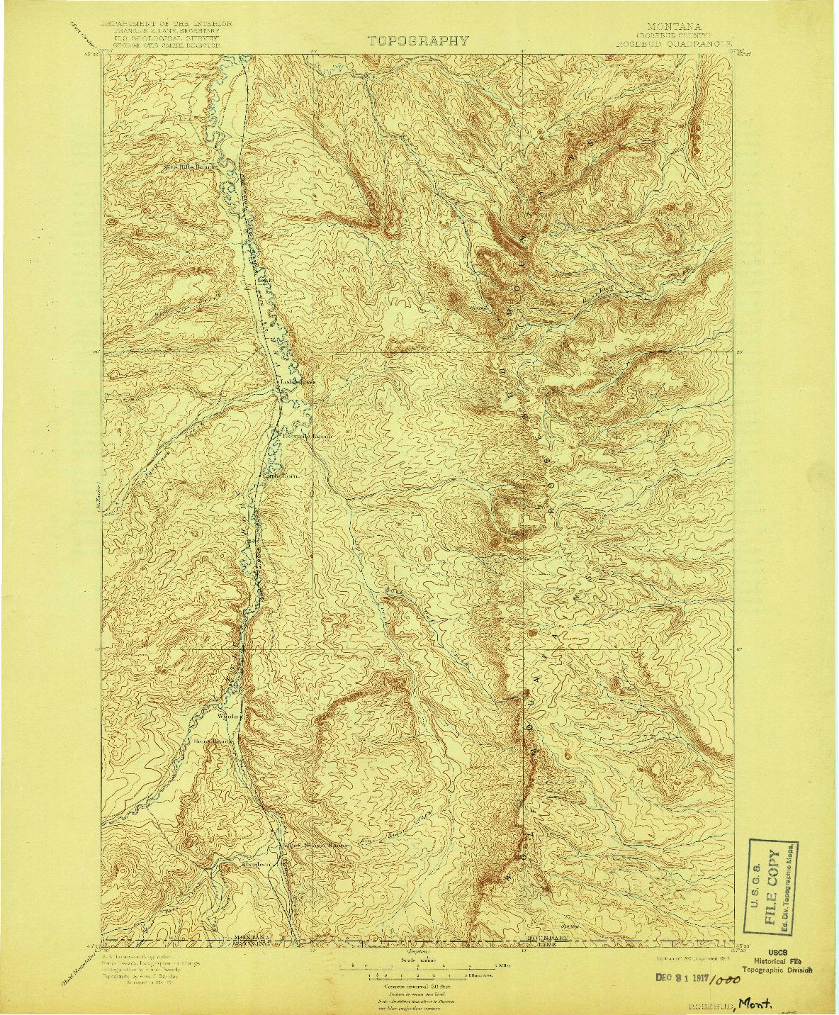 USGS 1:125000-SCALE QUADRANGLE FOR ROSEBUD, MT 1901
